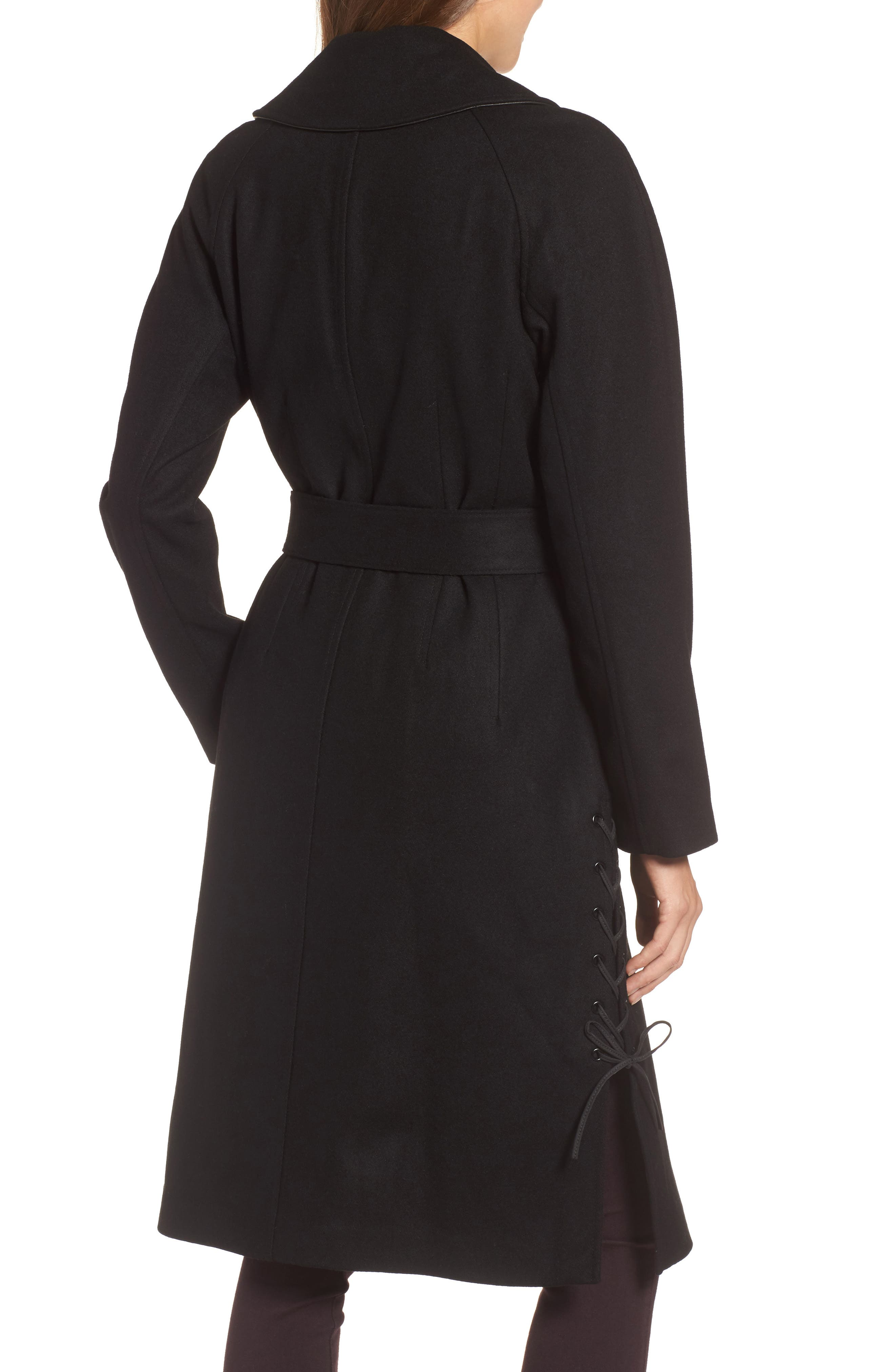 Baylee Asymmetrical Wool Blend Coat,                             Alternate thumbnail 2, color,                             001