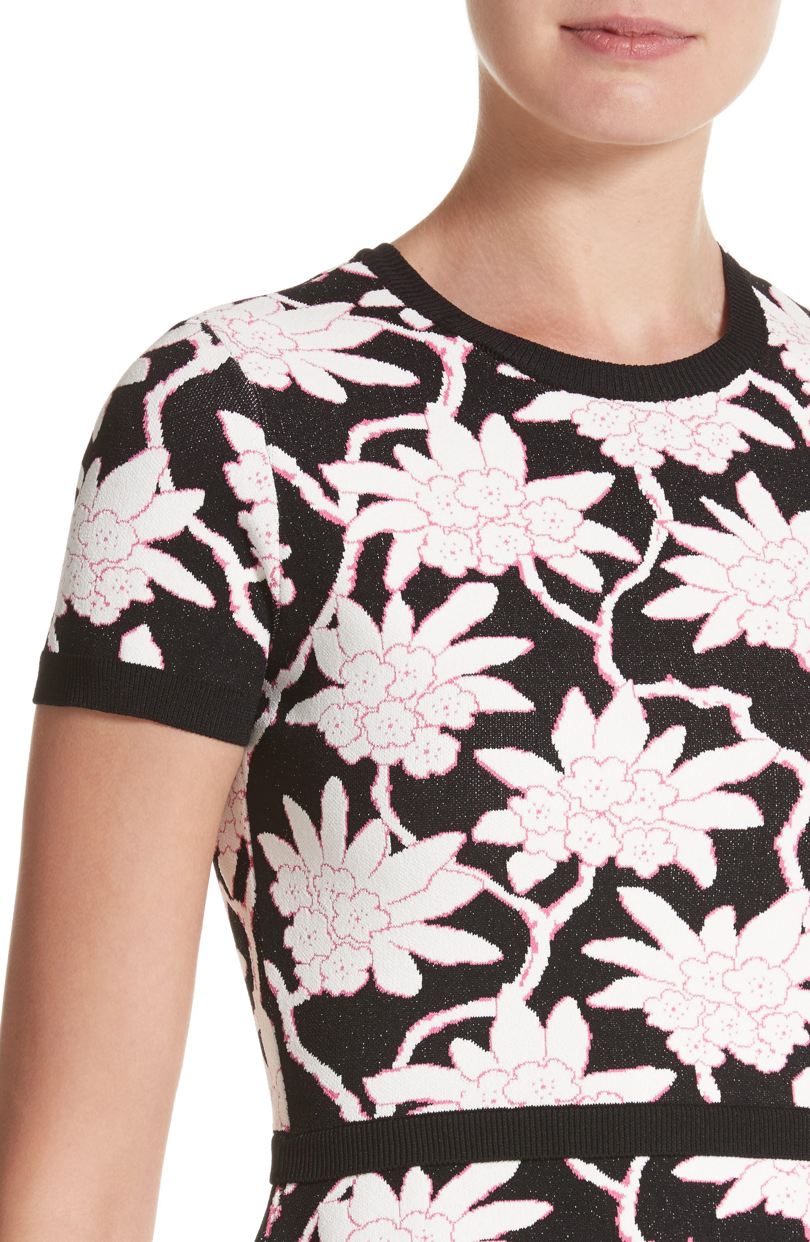 Rhododendron Jacquard Dress,                             Alternate thumbnail 4, color,                             001