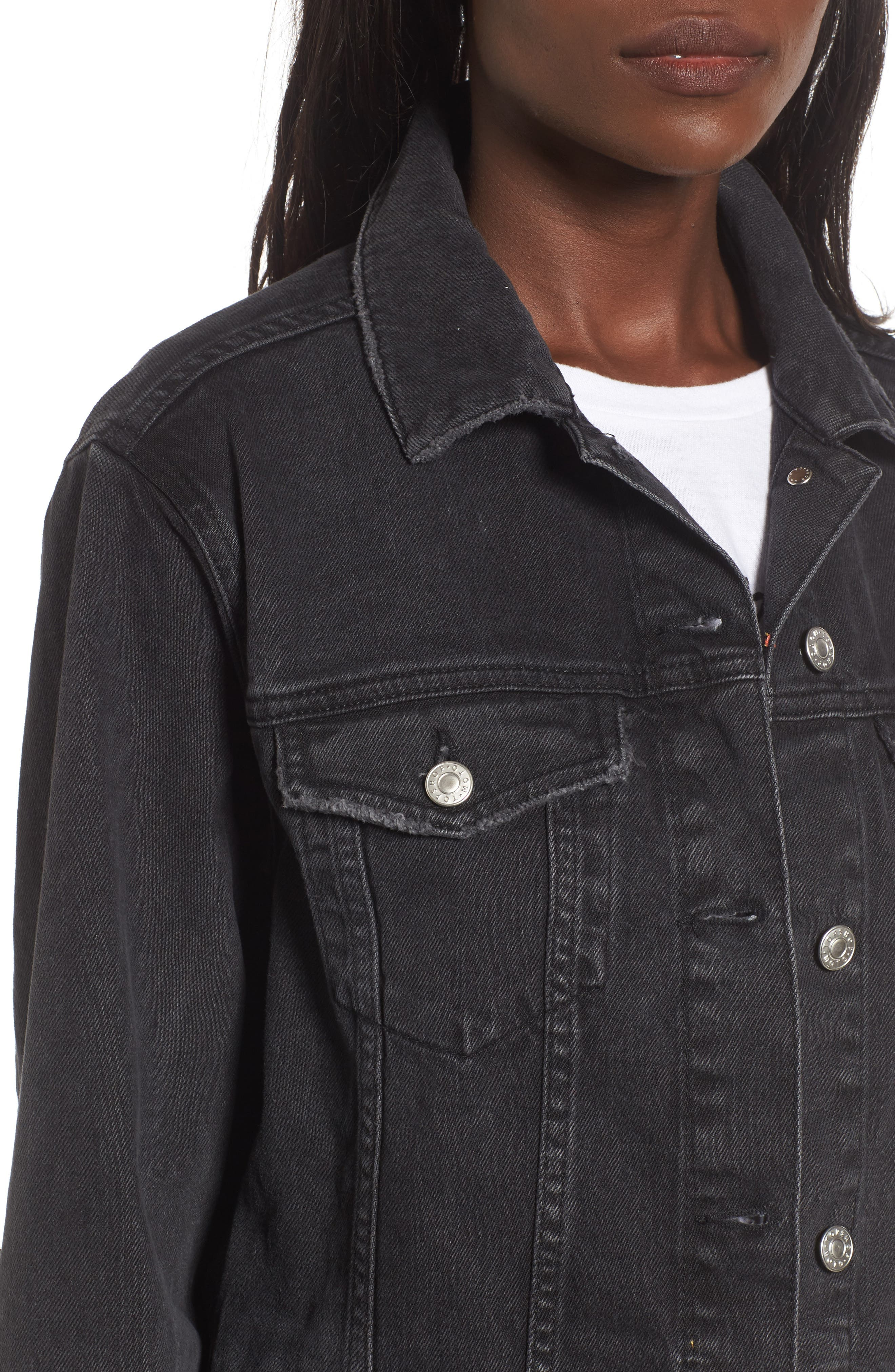 Ripped Elbow Longline Denim Jacket,                             Alternate thumbnail 4, color,                             001