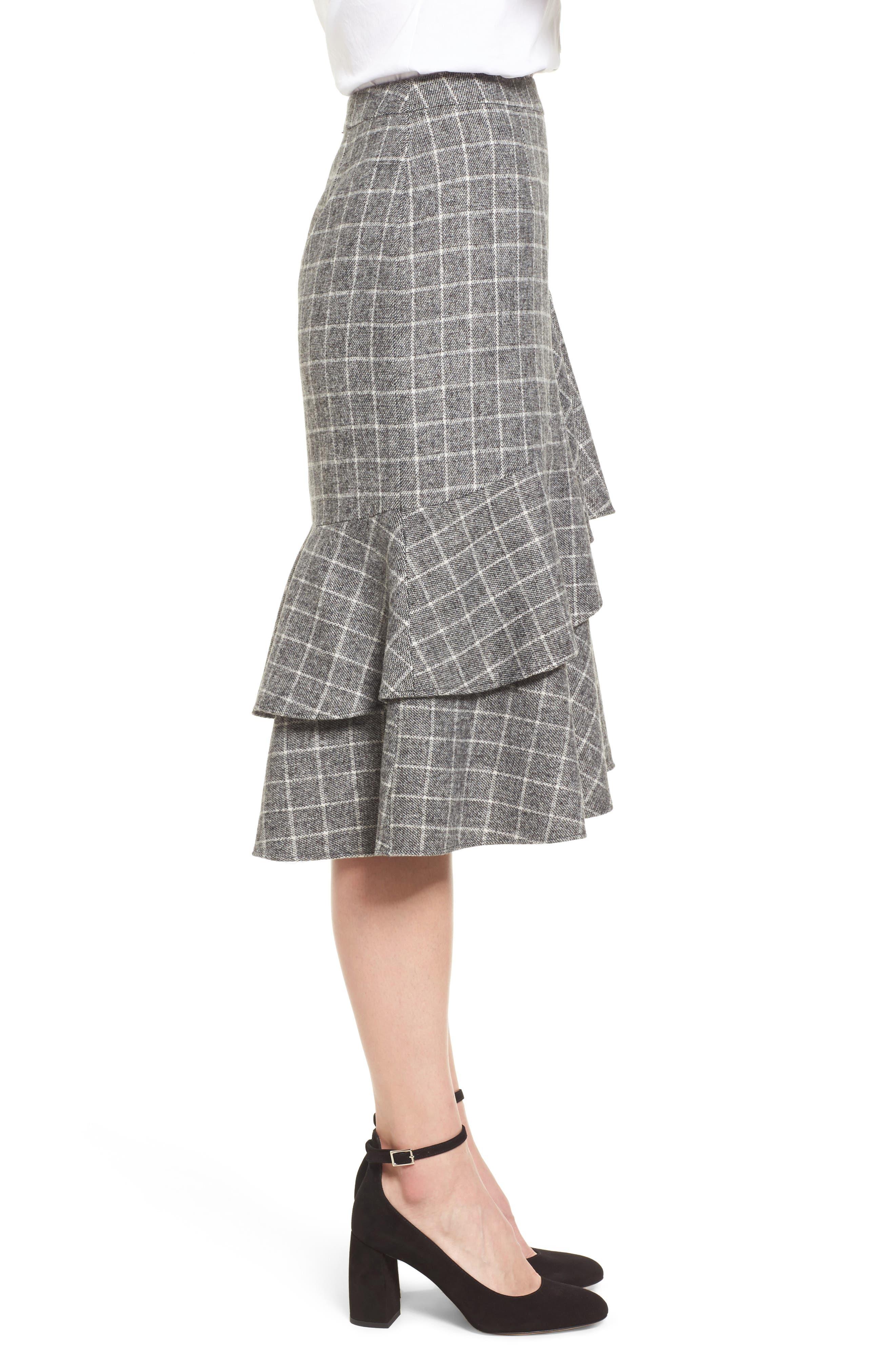 Windowpane Print Ruffle Skirt,                             Alternate thumbnail 3, color,                             001