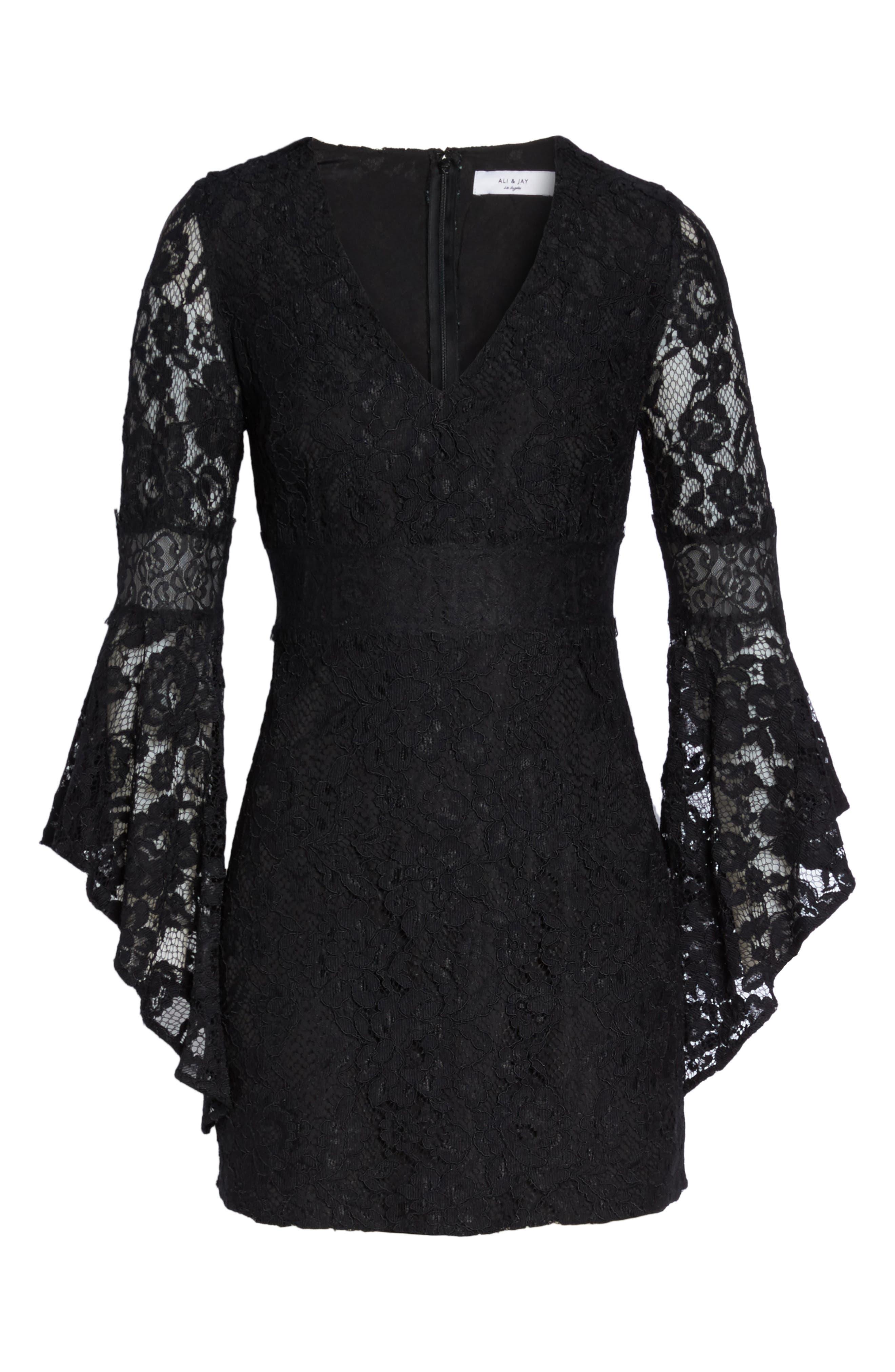 Le Fete Lace Bell Sleeve Dress,                             Alternate thumbnail 6, color,                             001