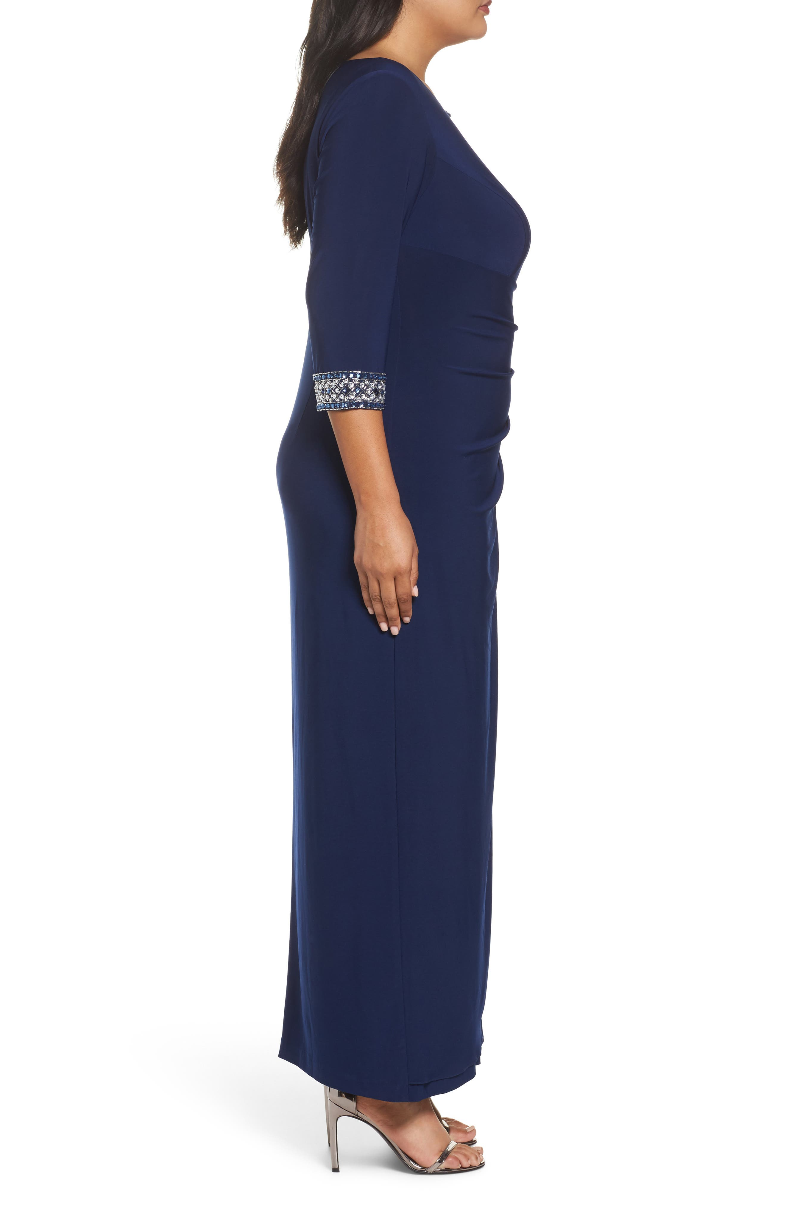 Embellished Faux Wrap Gown,                             Alternate thumbnail 3, color,