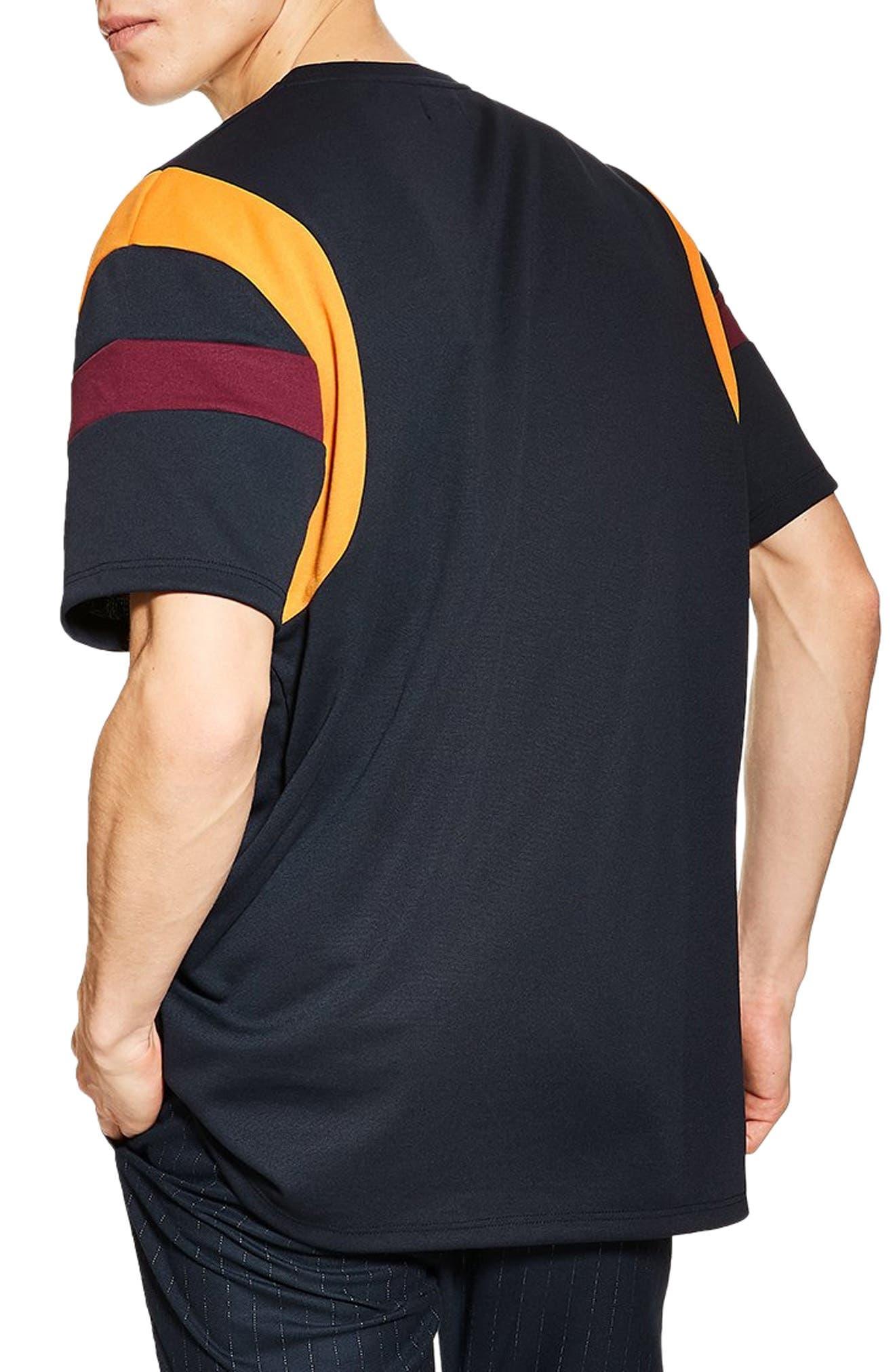 Oversize Panel T-Shirt,                             Alternate thumbnail 2, color,                             NAVY/ BURGUNDY