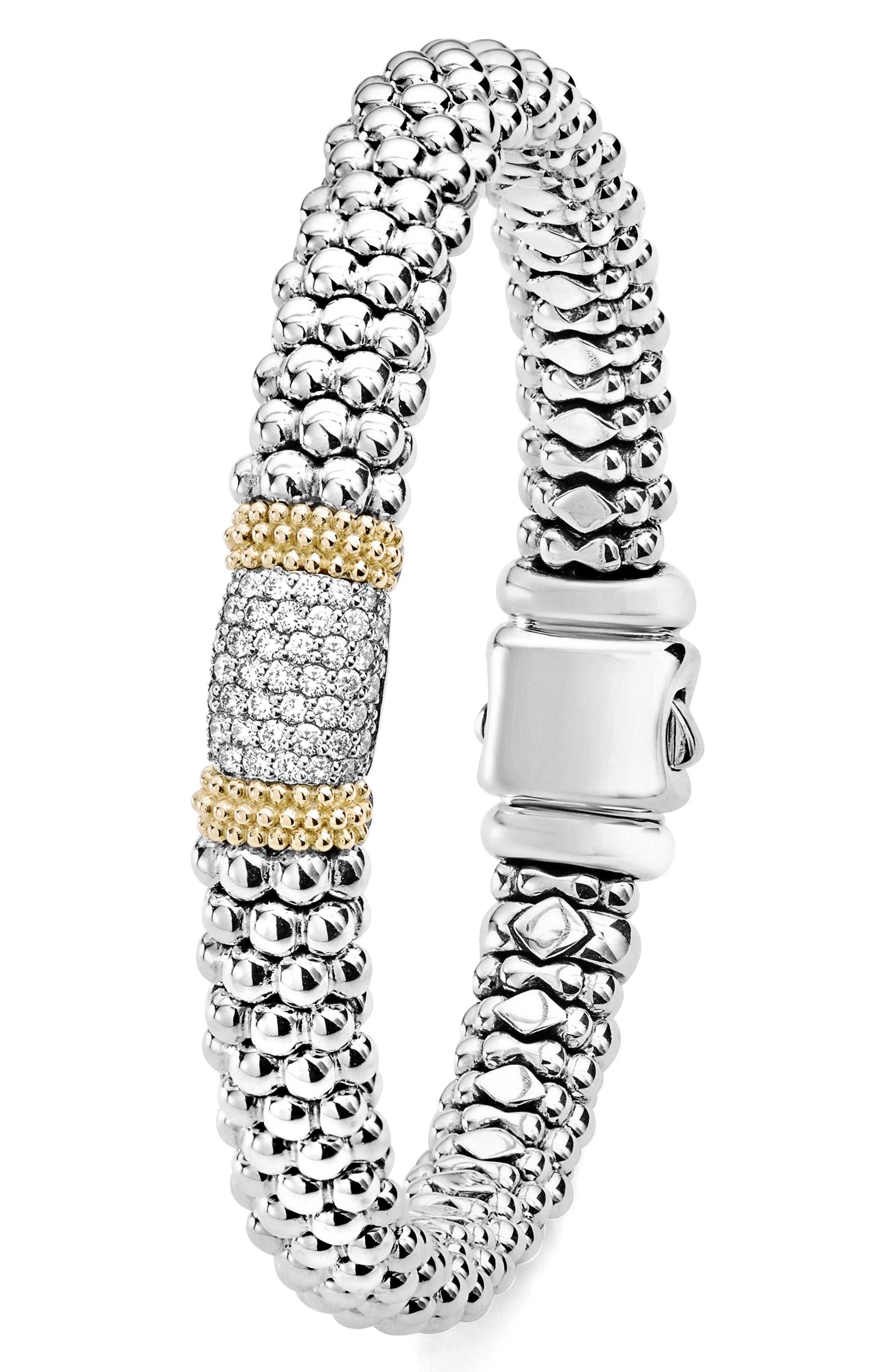 Diamond Lux Pavé Station Rope Bracelet,                             Alternate thumbnail 3, color,                             DIAMOND