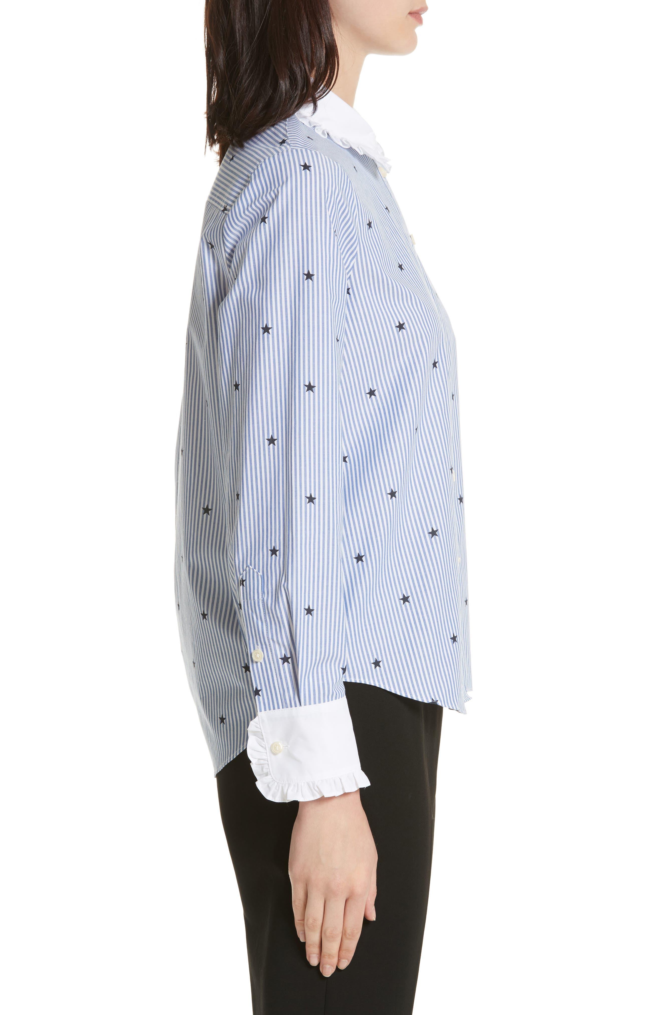 twinkle stripe poplin shirt,                             Alternate thumbnail 3, color,                             491
