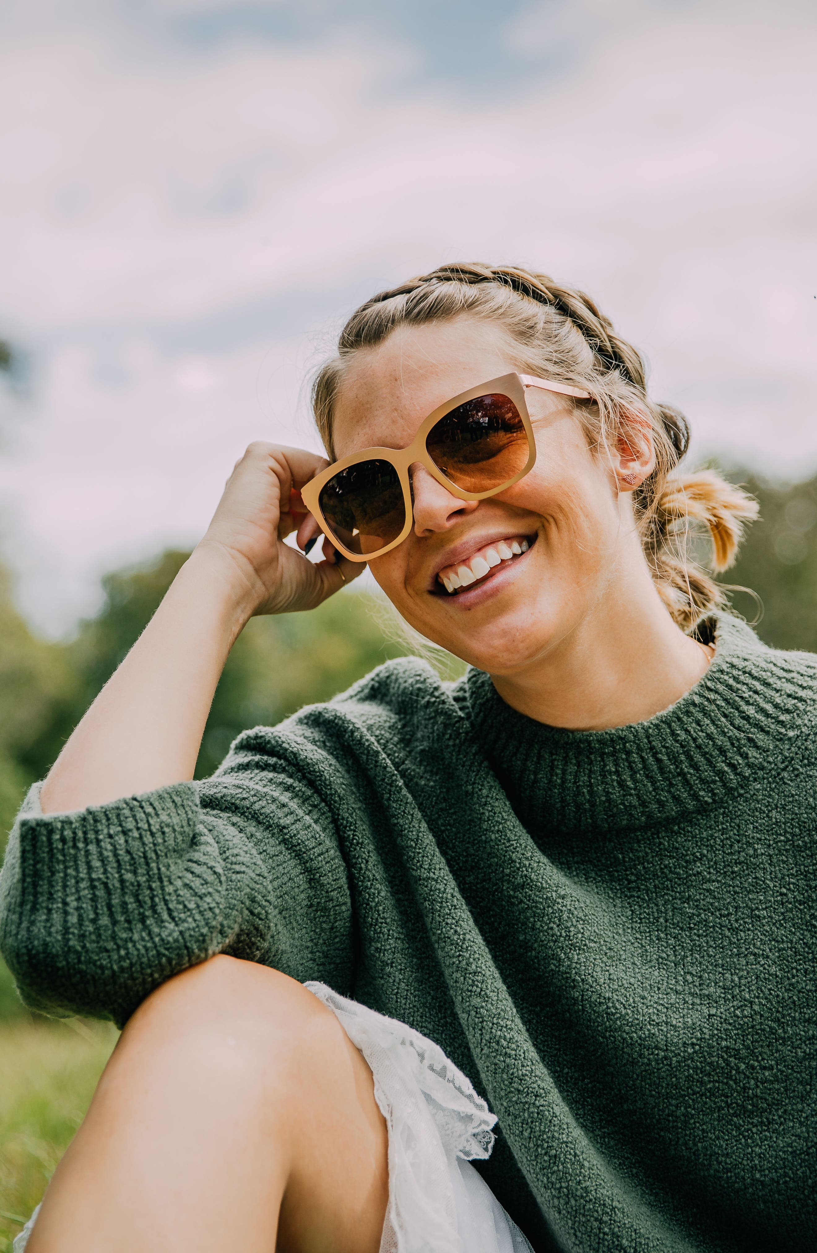 x Lauren Akins Ella 53mm Cat Eye Sunglasses,                             Alternate thumbnail 7, color,                             BLACK/ GREY