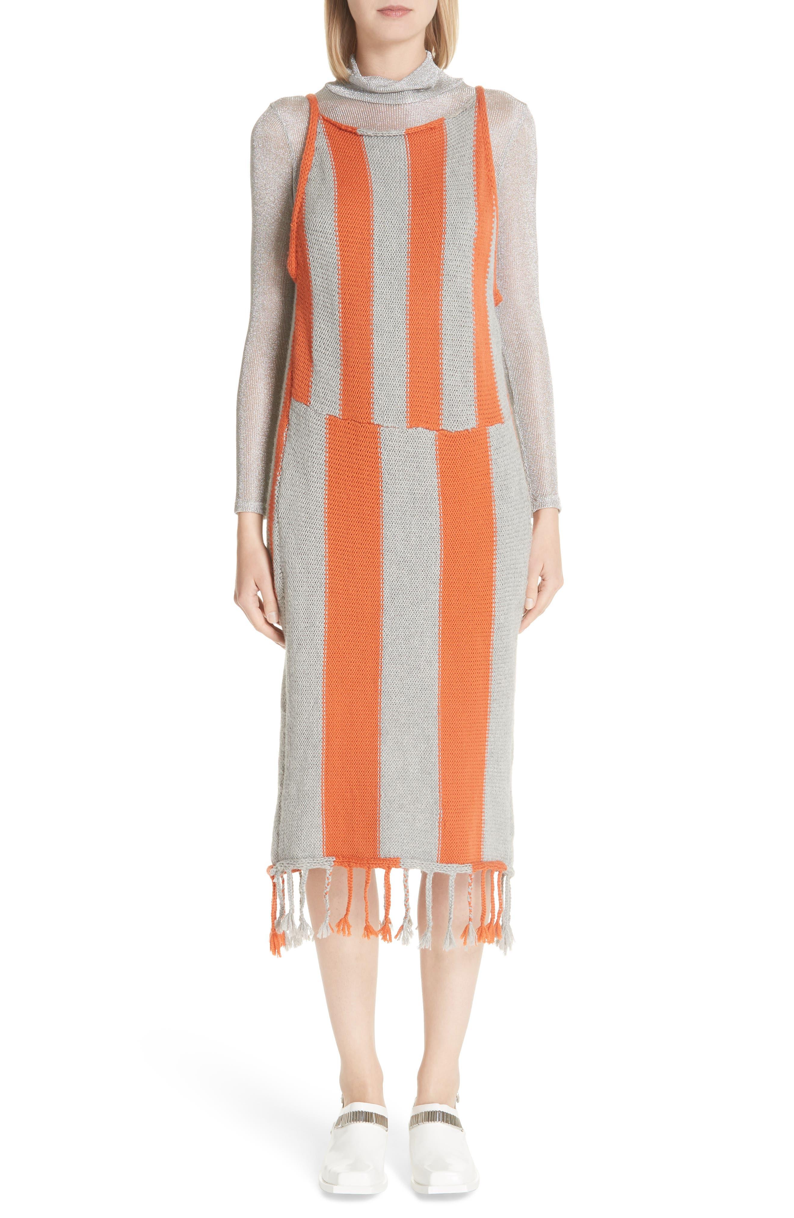 Metallic Rib Turtleneck Dress,                         Main,                         color, SM - SILVER MESH