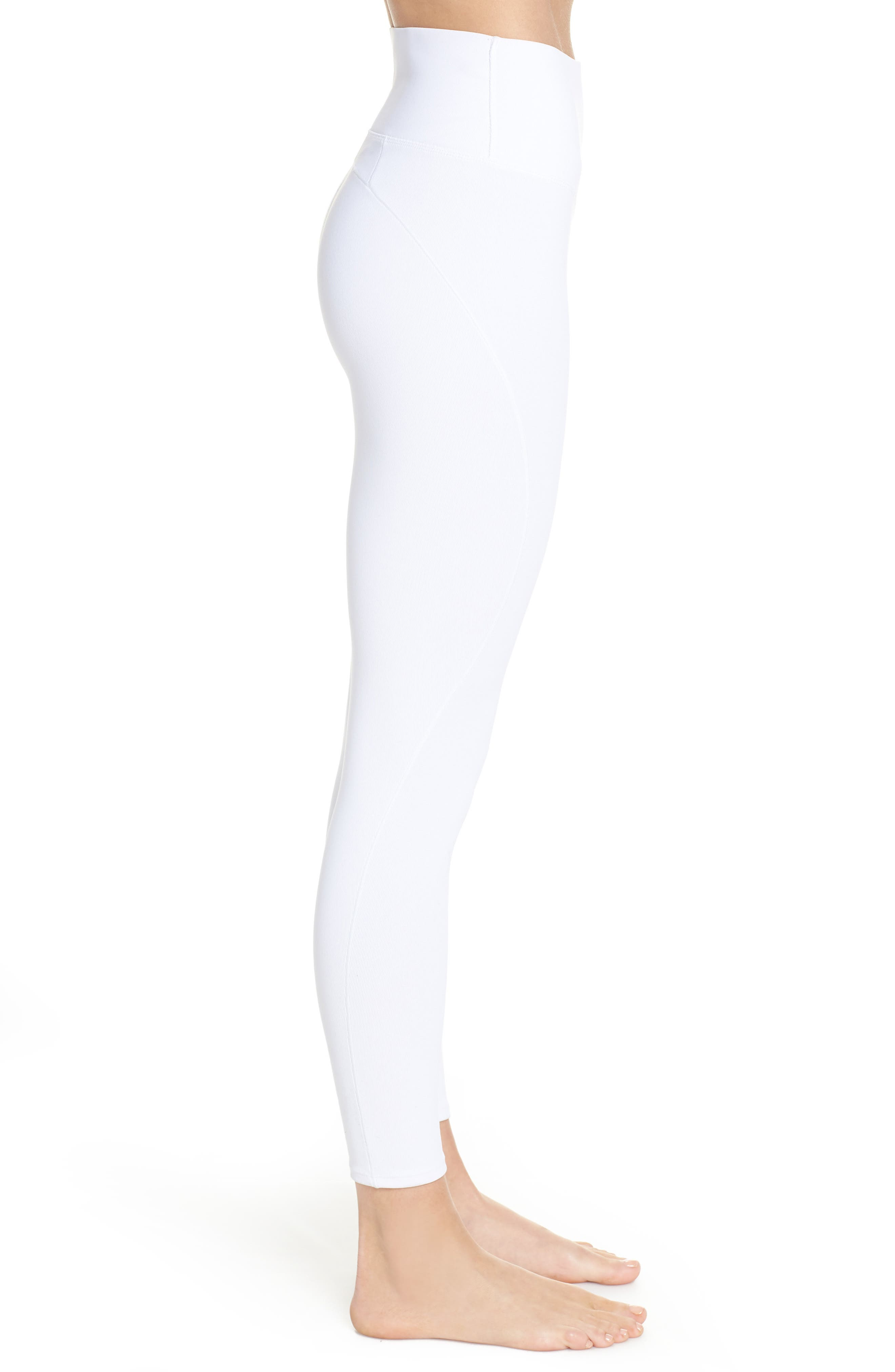 Free People FP Movement Formation High Waist Ankle Leggings,                             Alternate thumbnail 3, color,                             WHITE