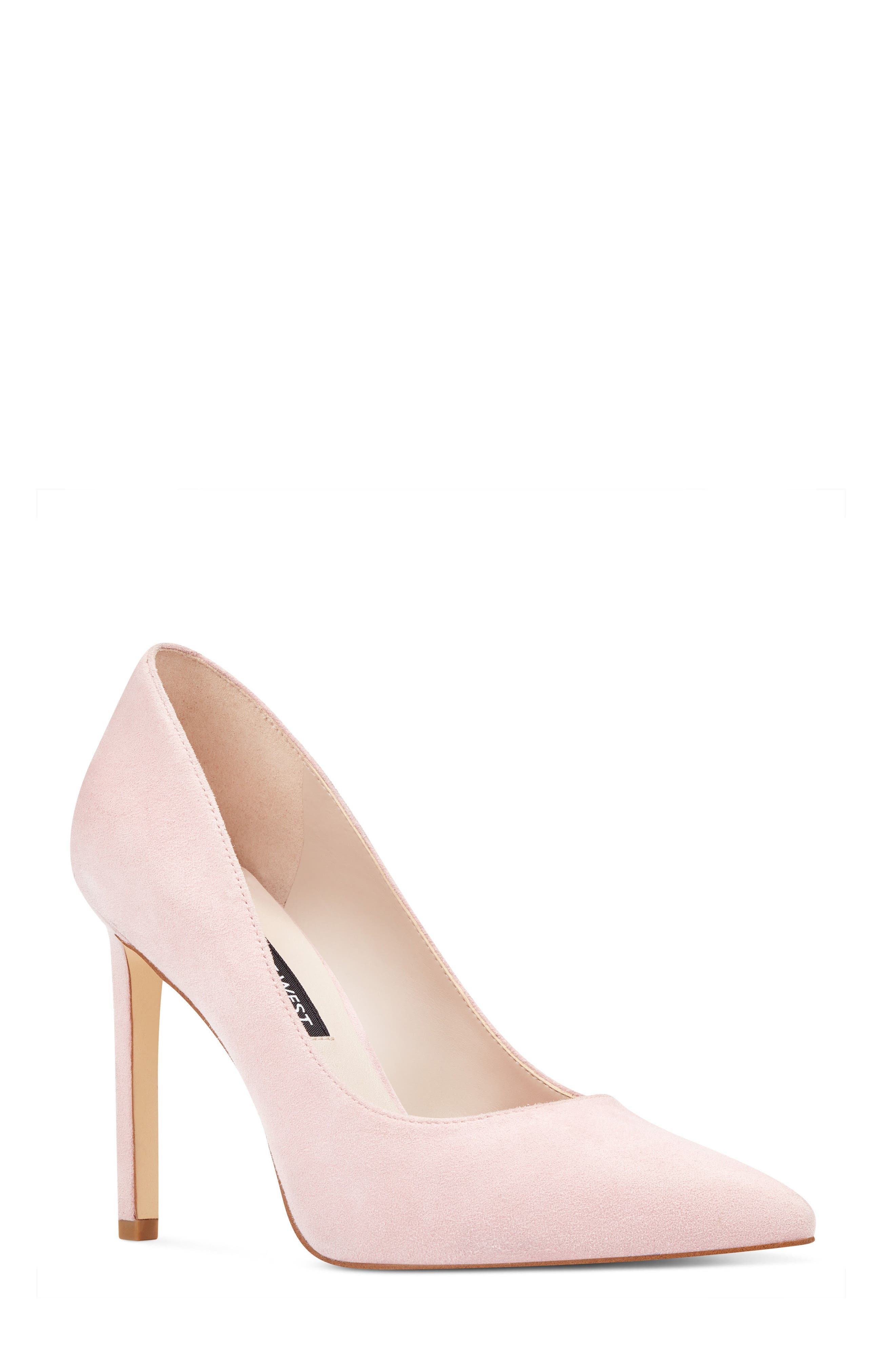 'Tatiana' Pointy Toe Pump,                             Main thumbnail 1, color,                             LIGHT PINK SUEDE