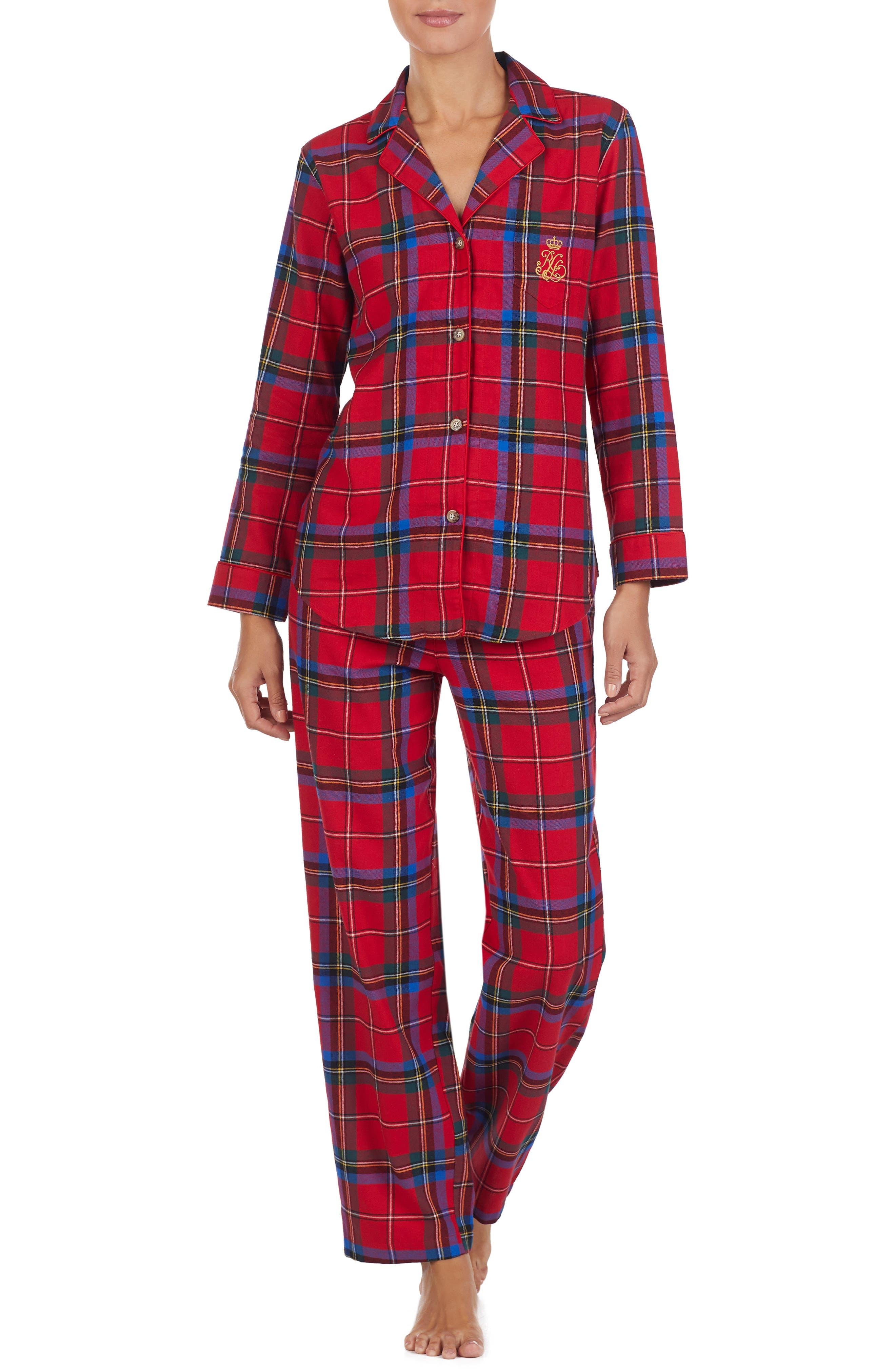 LAUREN RALPH LAUREN Flannel Pajamas, Main, color, 644