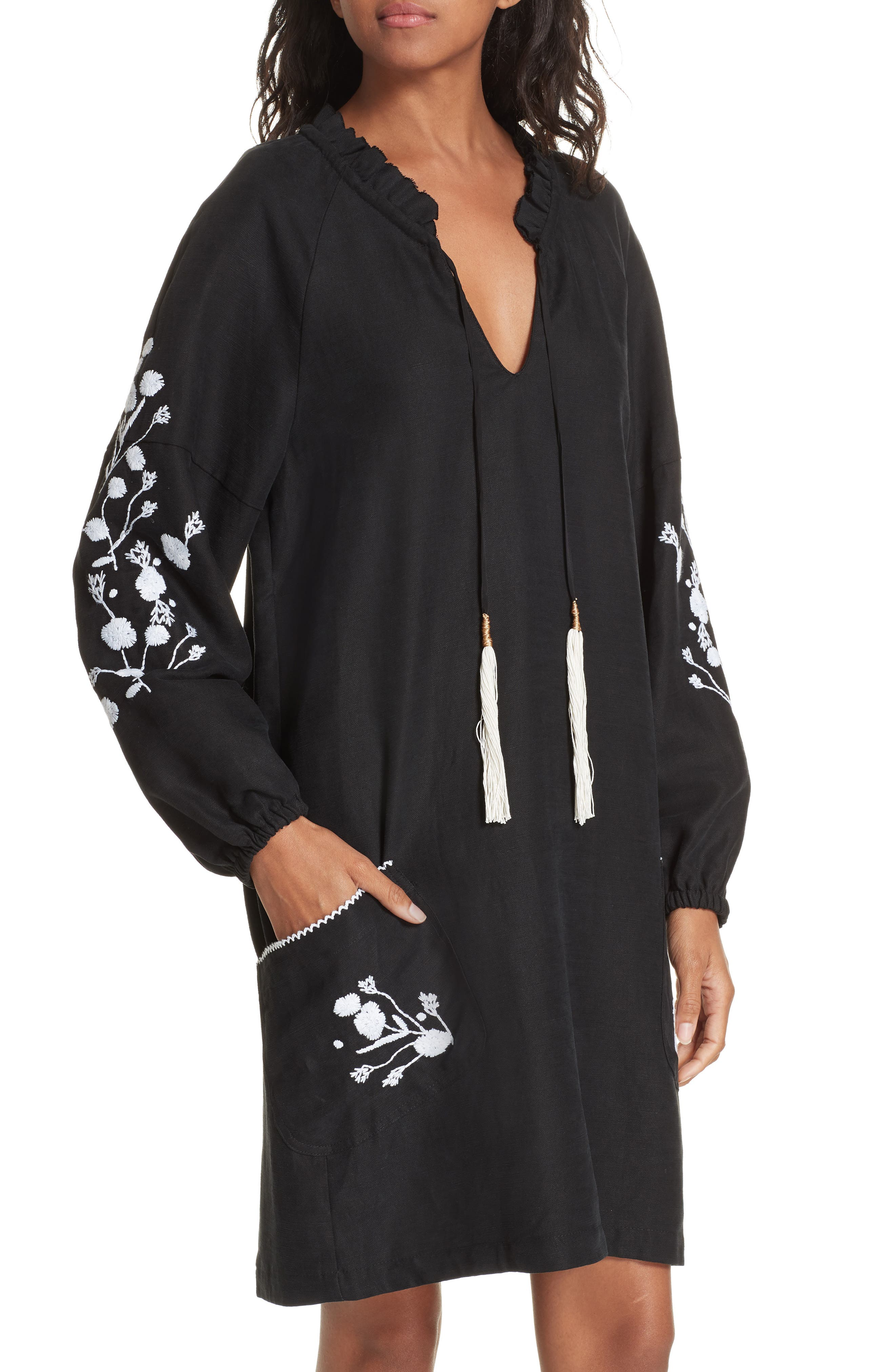 Embroidered Shift Dress,                             Alternate thumbnail 4, color,                             BLACK