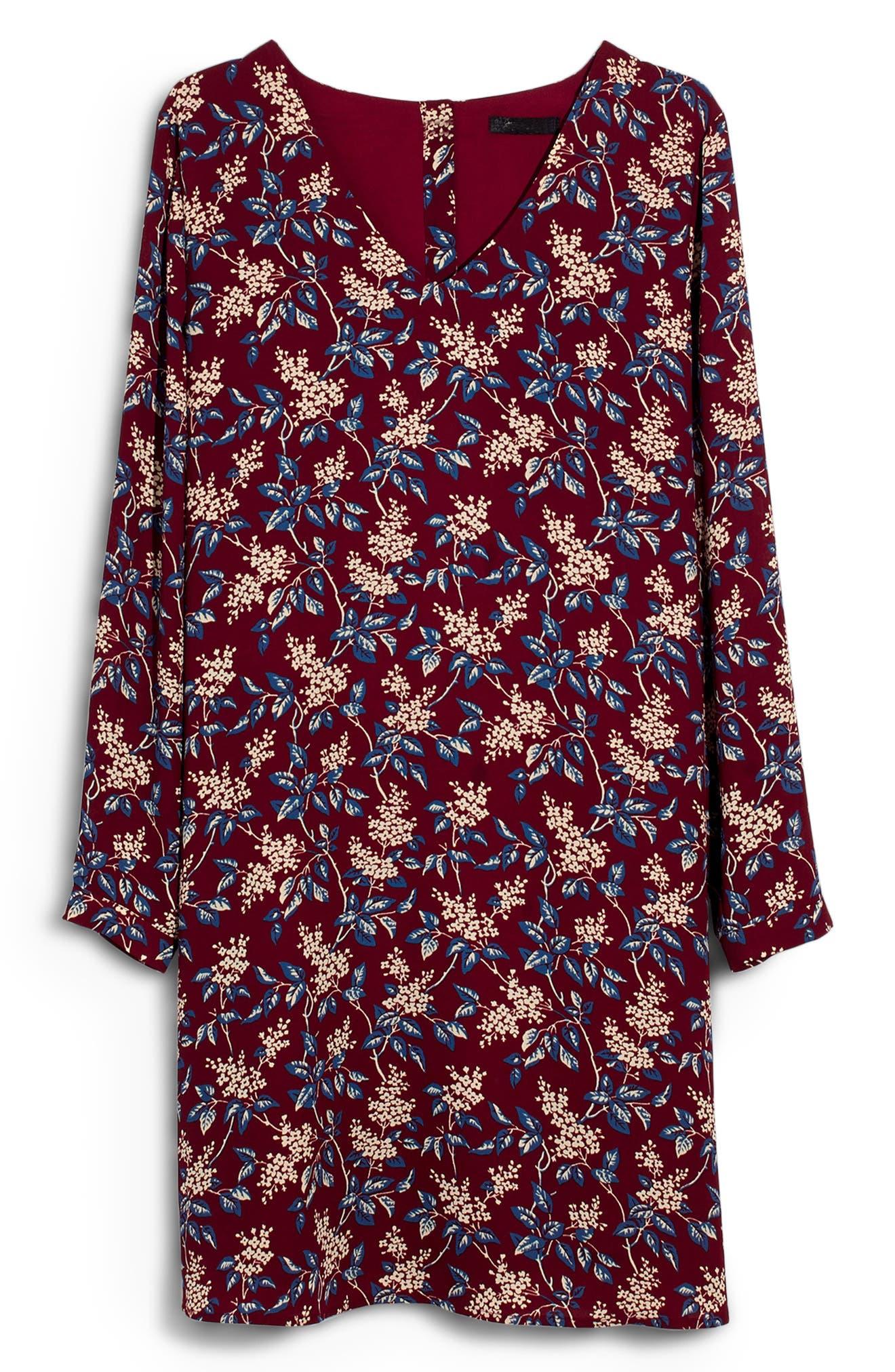 Antique Flora Button Back Dress,                             Alternate thumbnail 6, color,                             DUSTY BURGUNDY