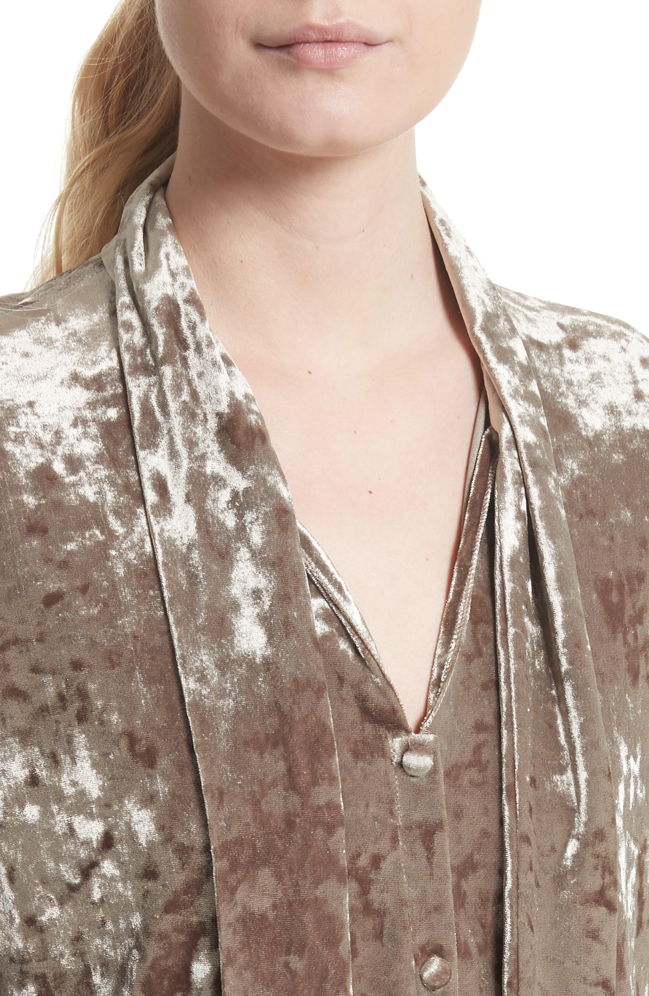 Gisele Crushed Velvet Tie Neck Blouse,                             Alternate thumbnail 4, color,