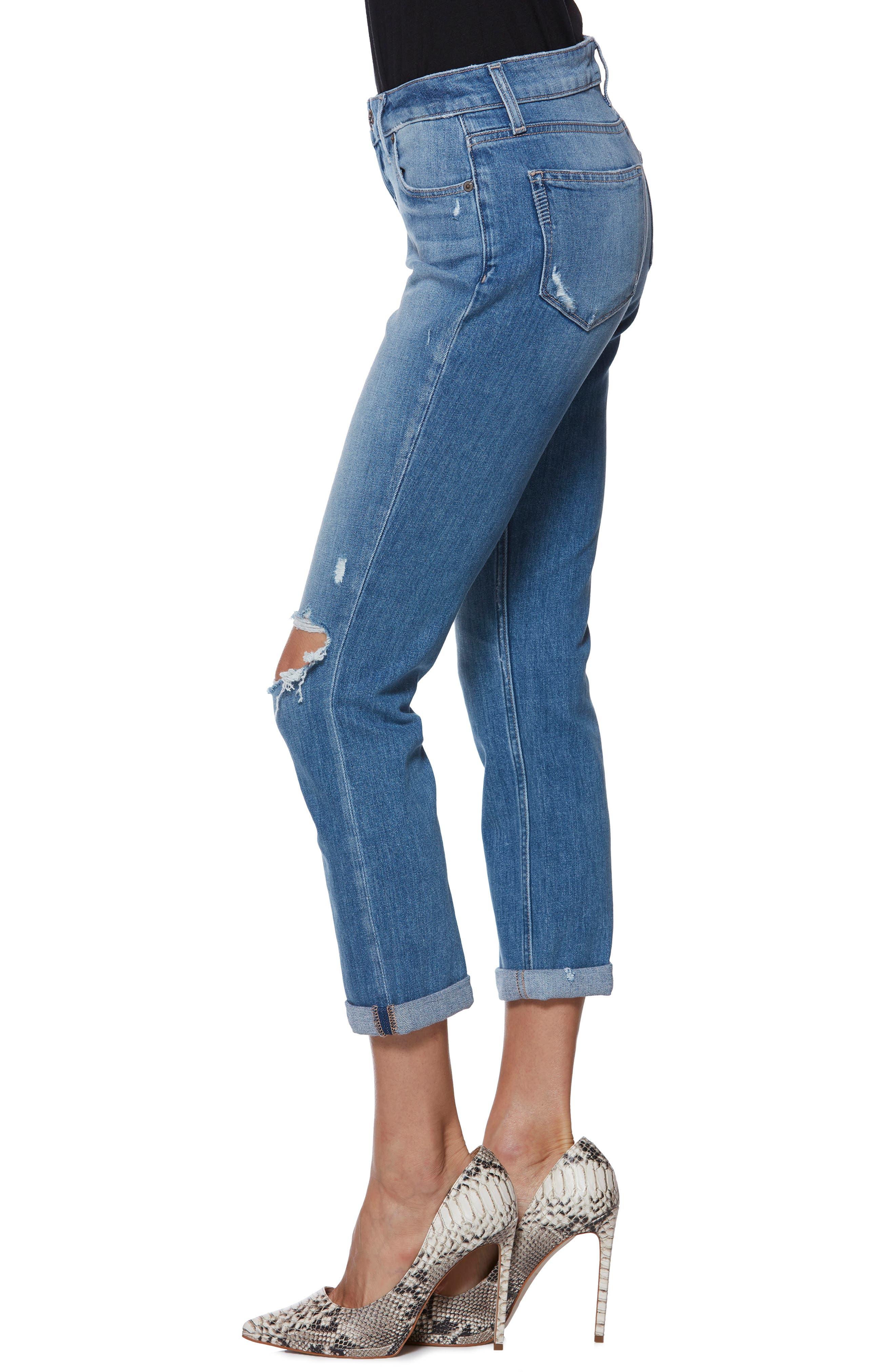Brigitte Ripped Crop Boyfriend Jeans,                             Alternate thumbnail 3, color,                             BROOKVIEW DESTRUCTED