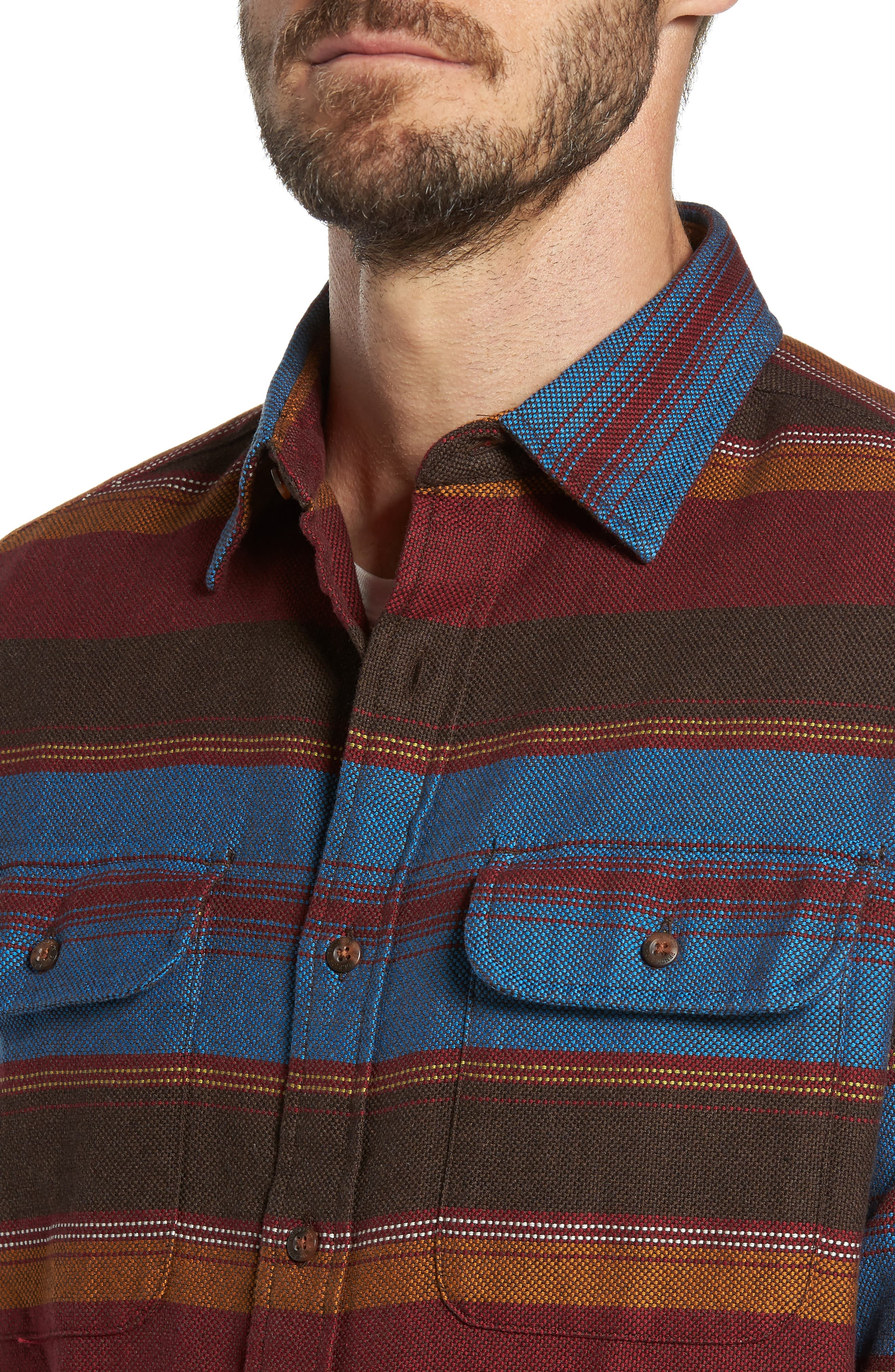 Camber Striped Sport Shirt,                             Alternate thumbnail 4, color,                             206
