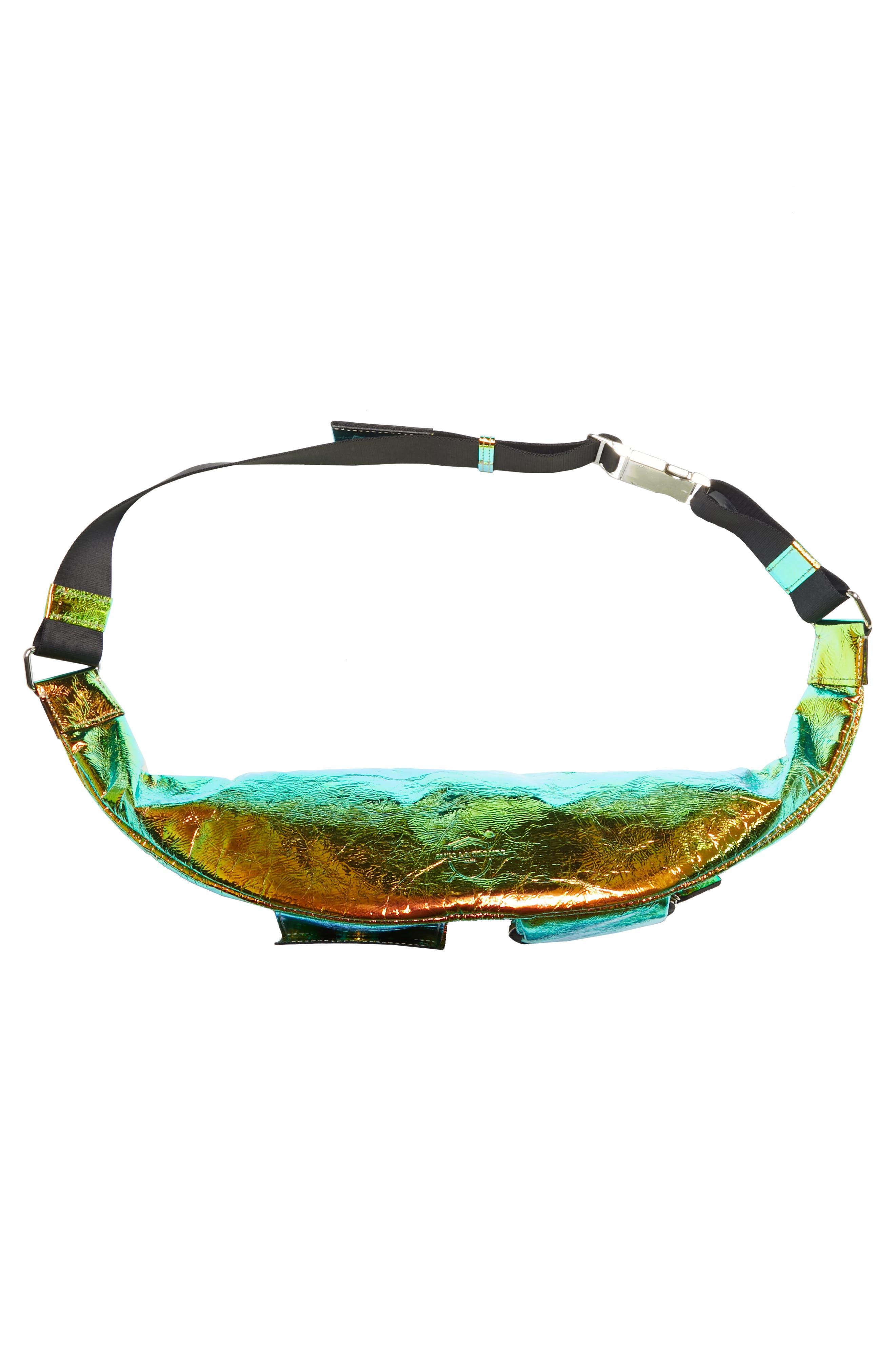 Major Hologram Convertible Belt Bag,                             Alternate thumbnail 6, color,                             BLACK HOLOGRAPHIC
