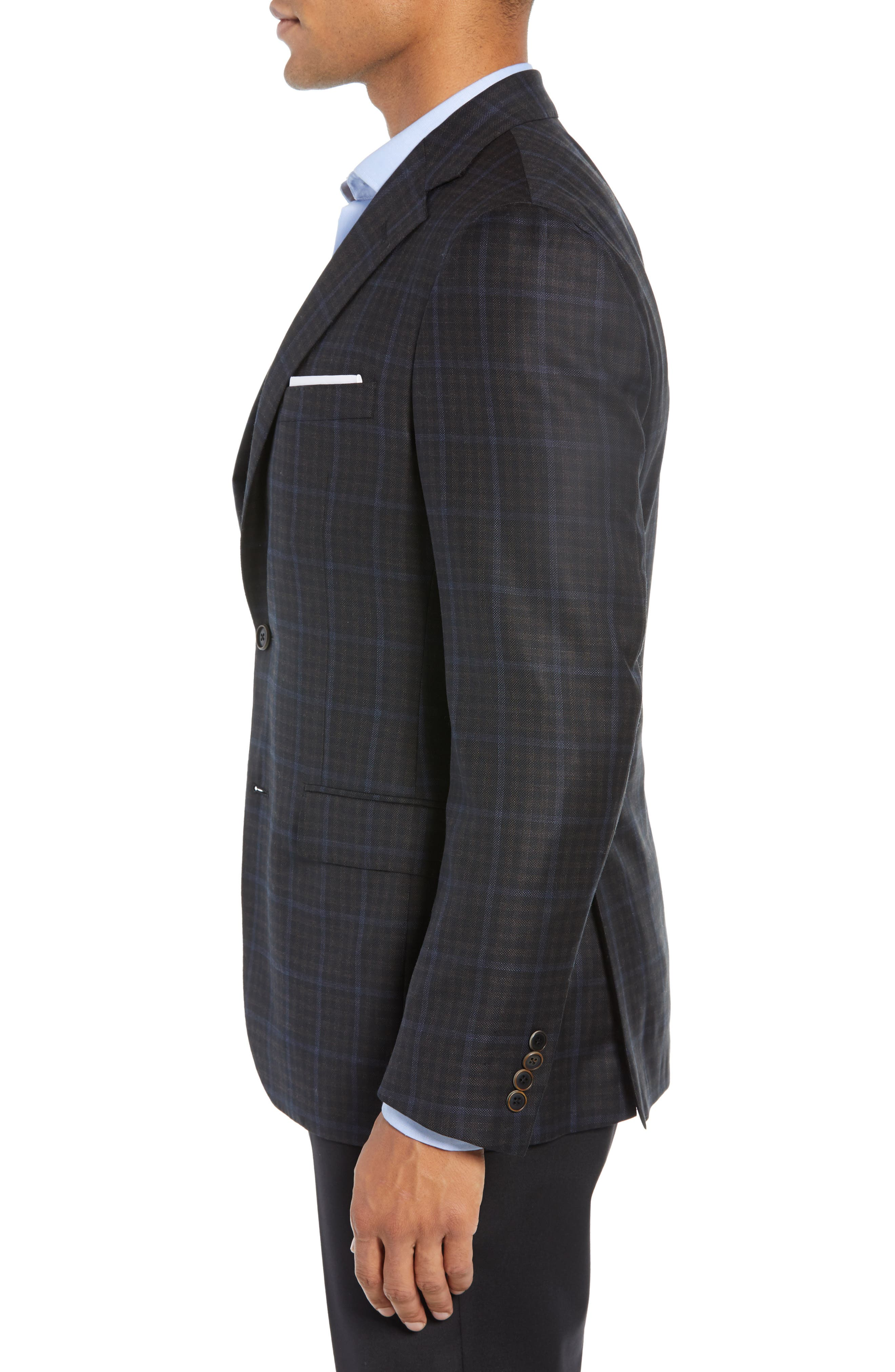 Classic Fit Check Wool Sport Coat,                             Alternate thumbnail 3, color,                             NAVY/ BROWN