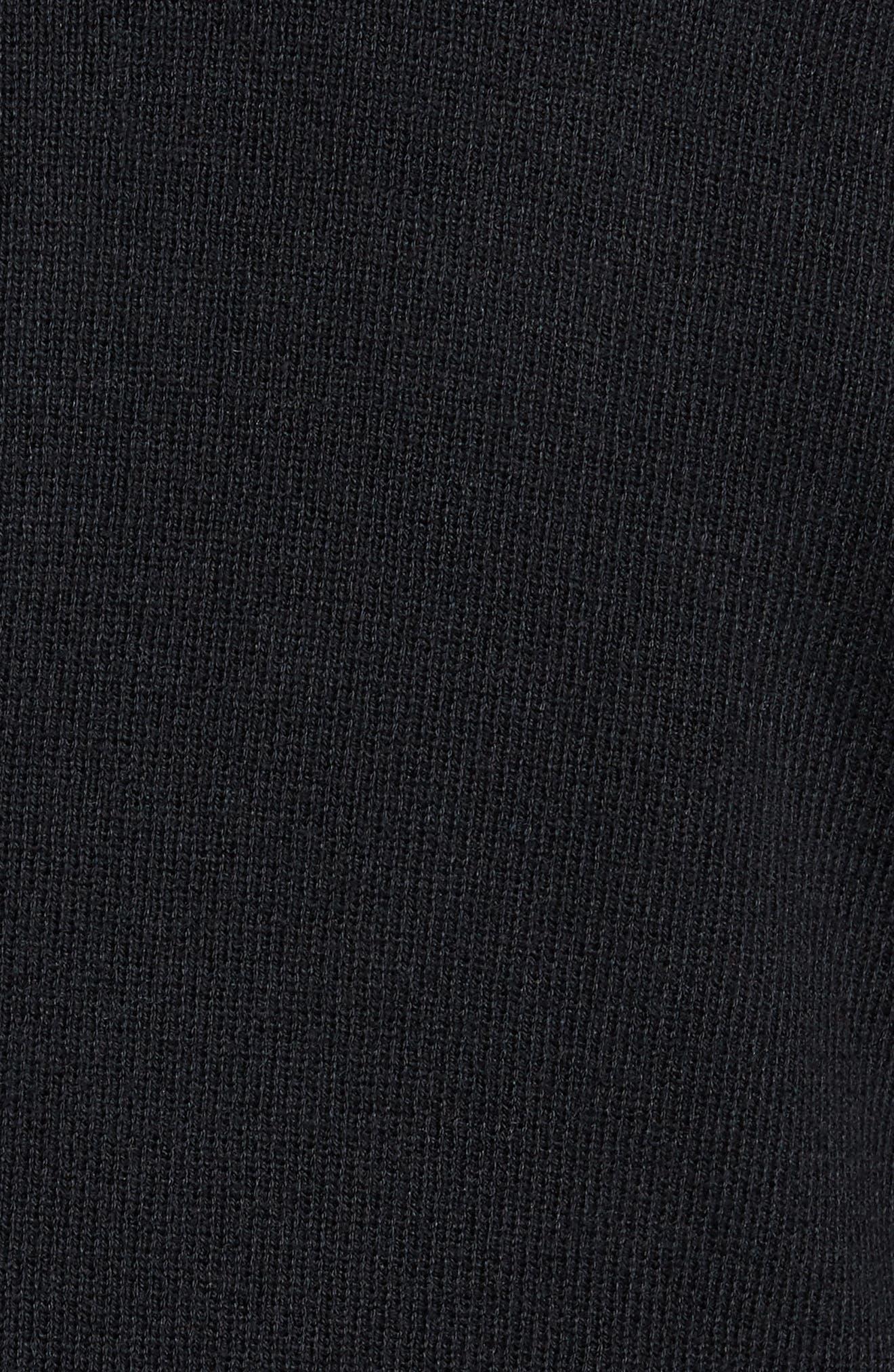Zip Front Sweater Jacket,                             Alternate thumbnail 5, color,                             BLACK