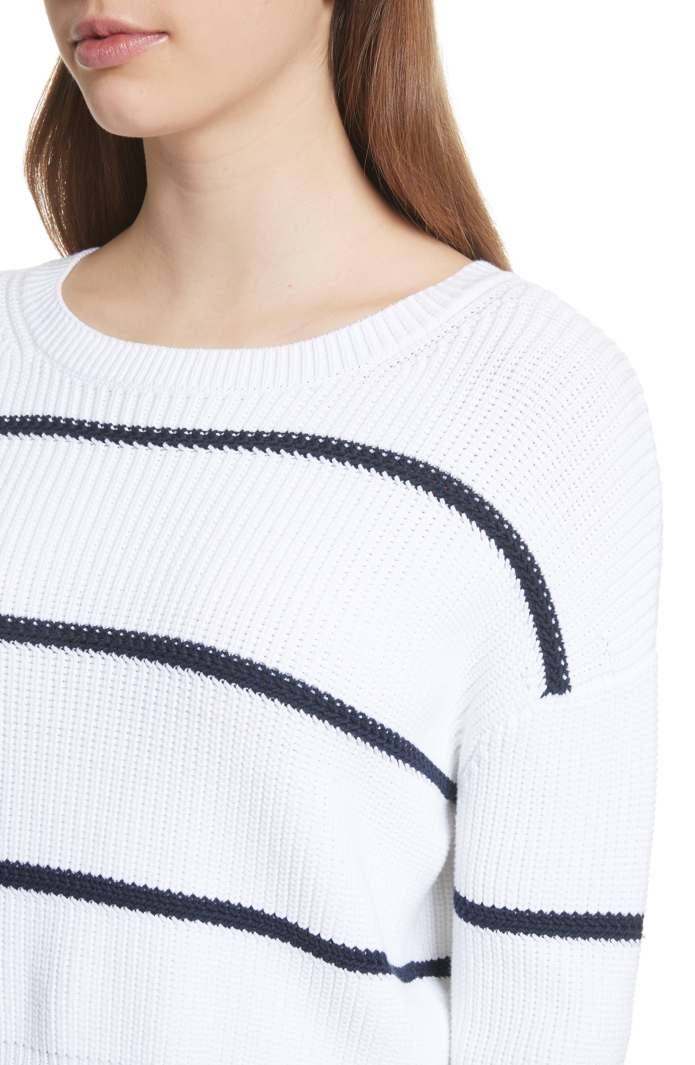 Cotton Blend Rib Knit Stripe Sweater,                             Alternate thumbnail 7, color,