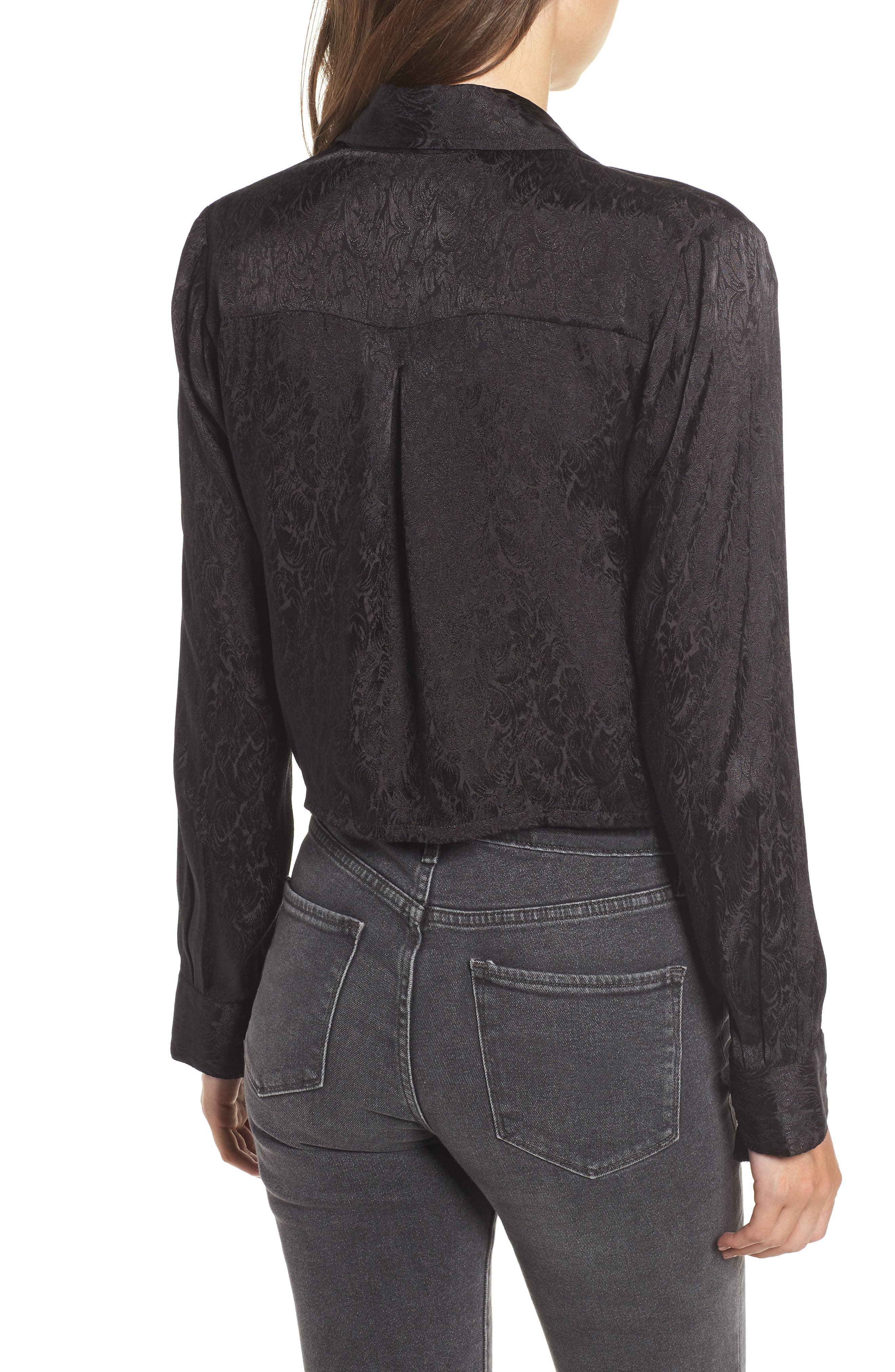 Embroidered Button Tie Blouse,                             Alternate thumbnail 2, color,                             BLACK