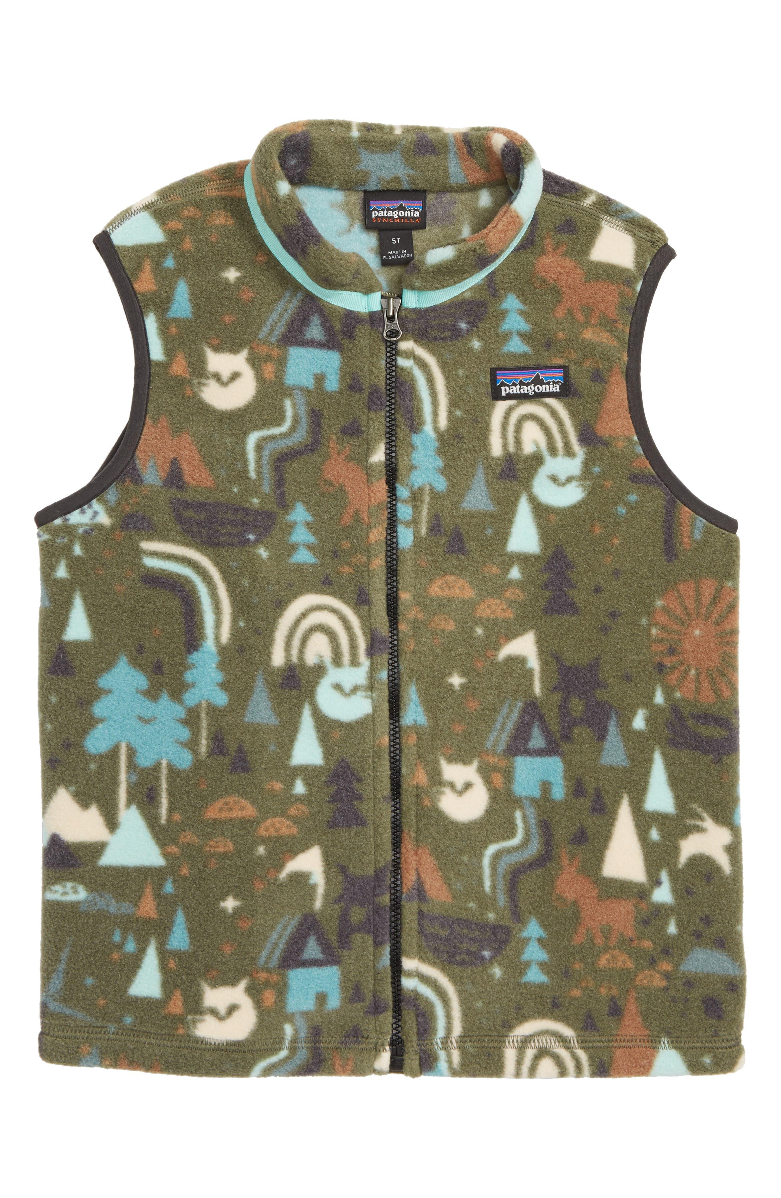 Synchilla<sup>®</sup> Fleece Zip Vest,                             Main thumbnail 1, color,                             BLOCK PRINT/ INDUSTRIAL GREEN