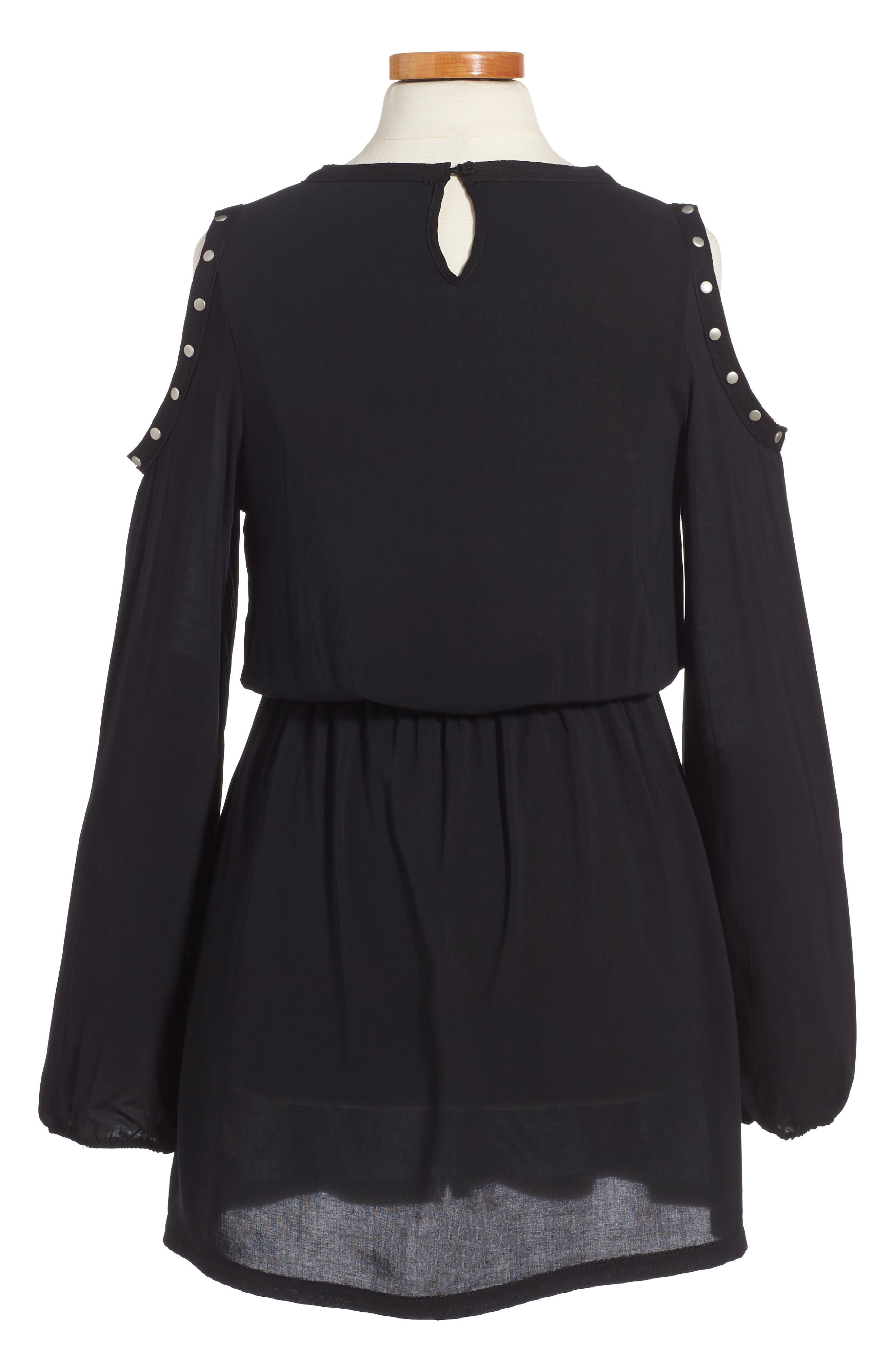 Grommet Cold Shoulder Dress,                             Alternate thumbnail 2, color,                             001