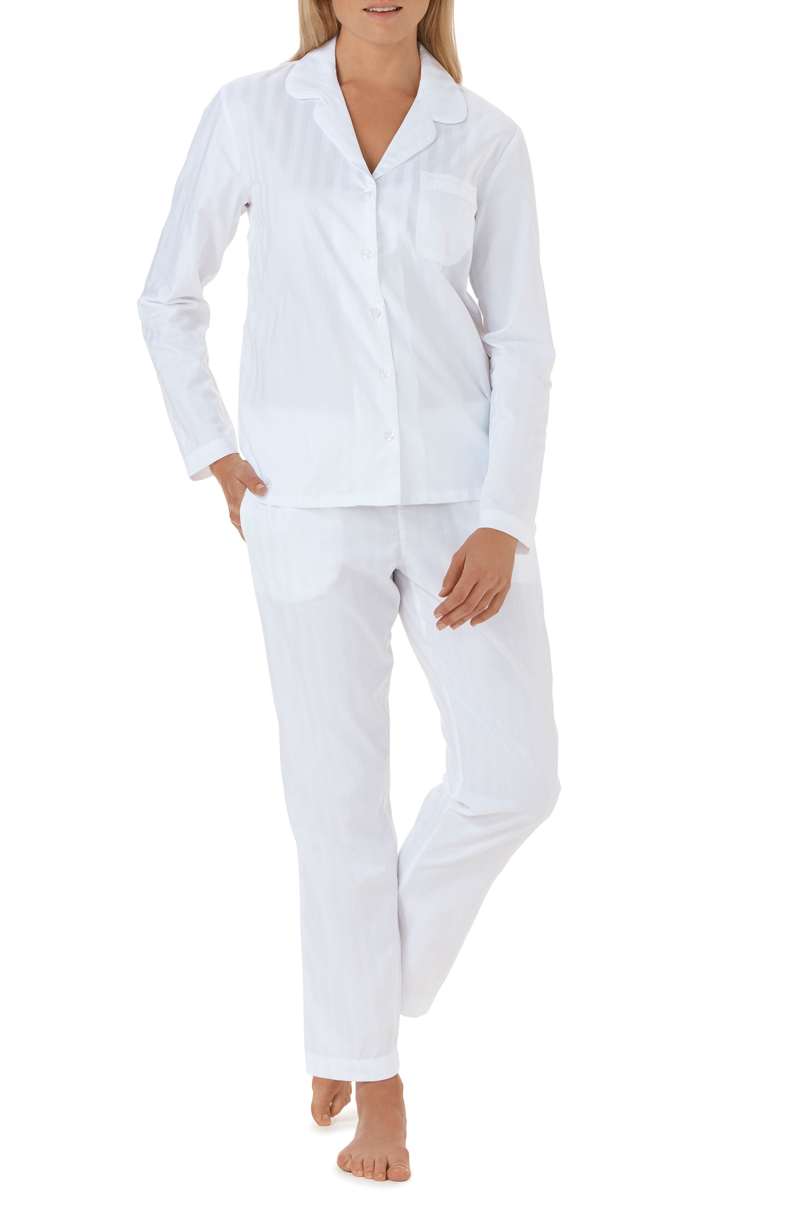 THE WHITE COMPANY,                             Cotton Pajamas,                             Main thumbnail 1, color,                             WHITE