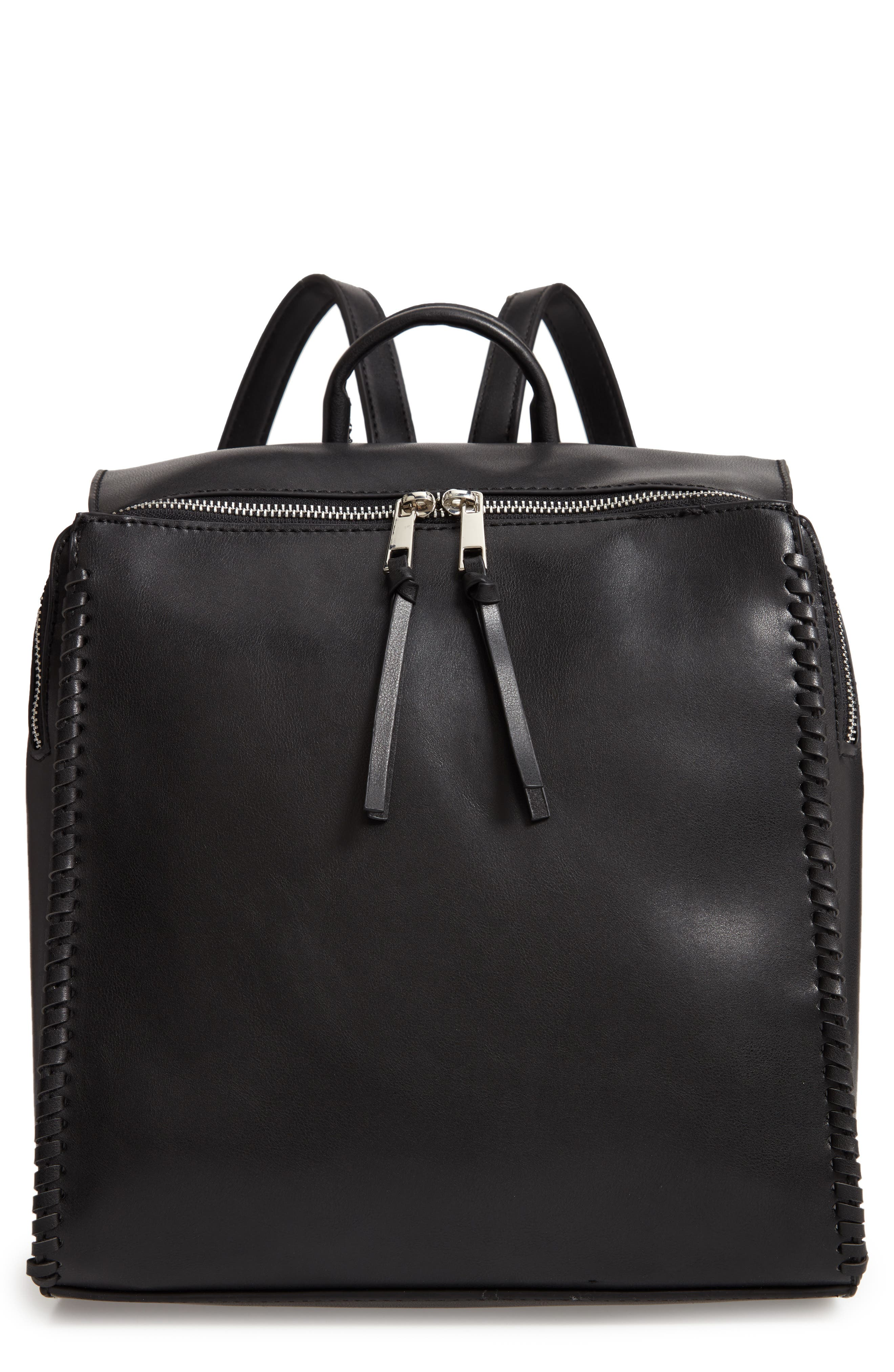 Whipstitch Faux Leather Square Backpack,                         Main,                         color, 001