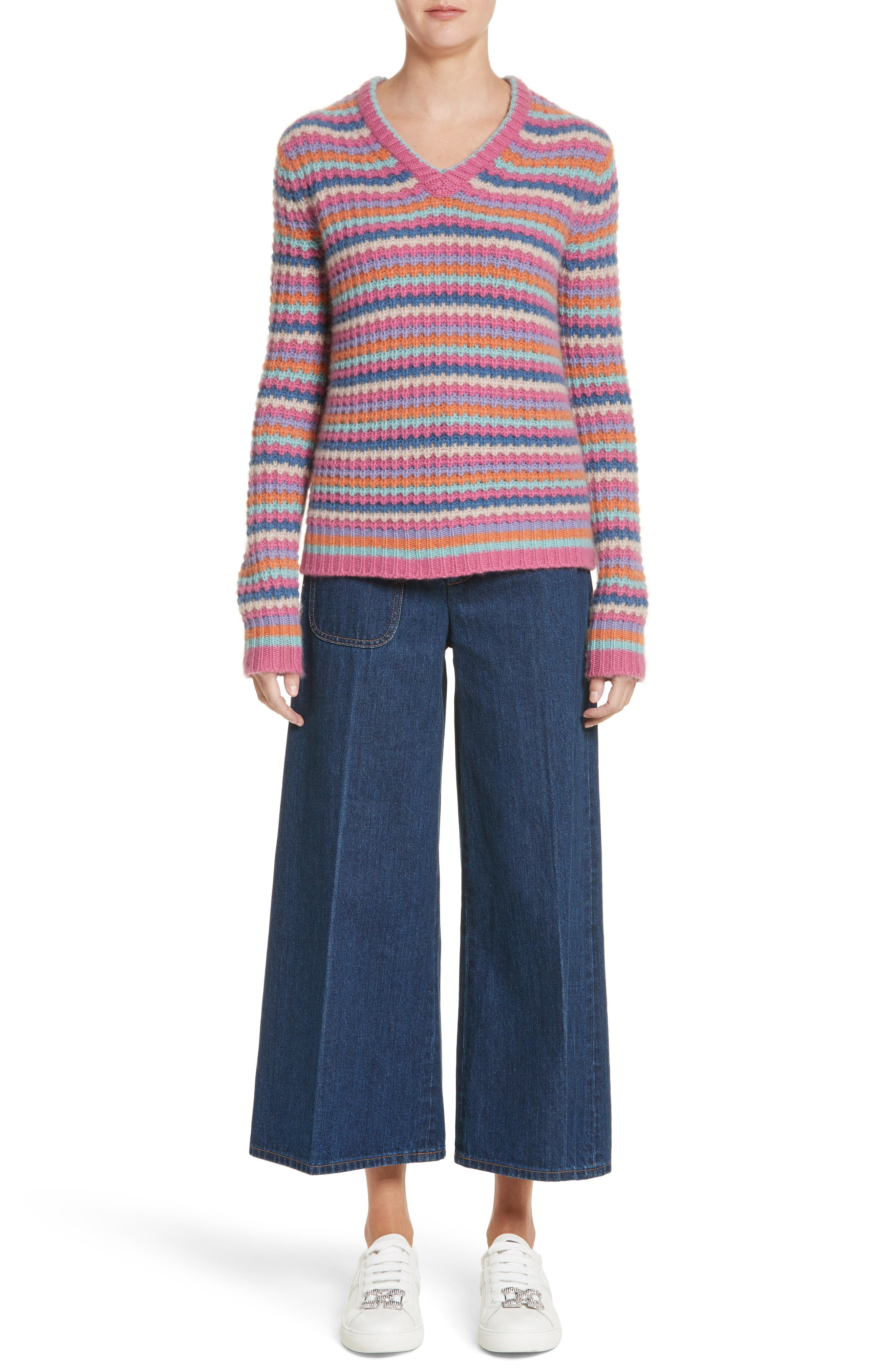 Stripe Cashmere Sweater,                             Alternate thumbnail 7, color,                             651
