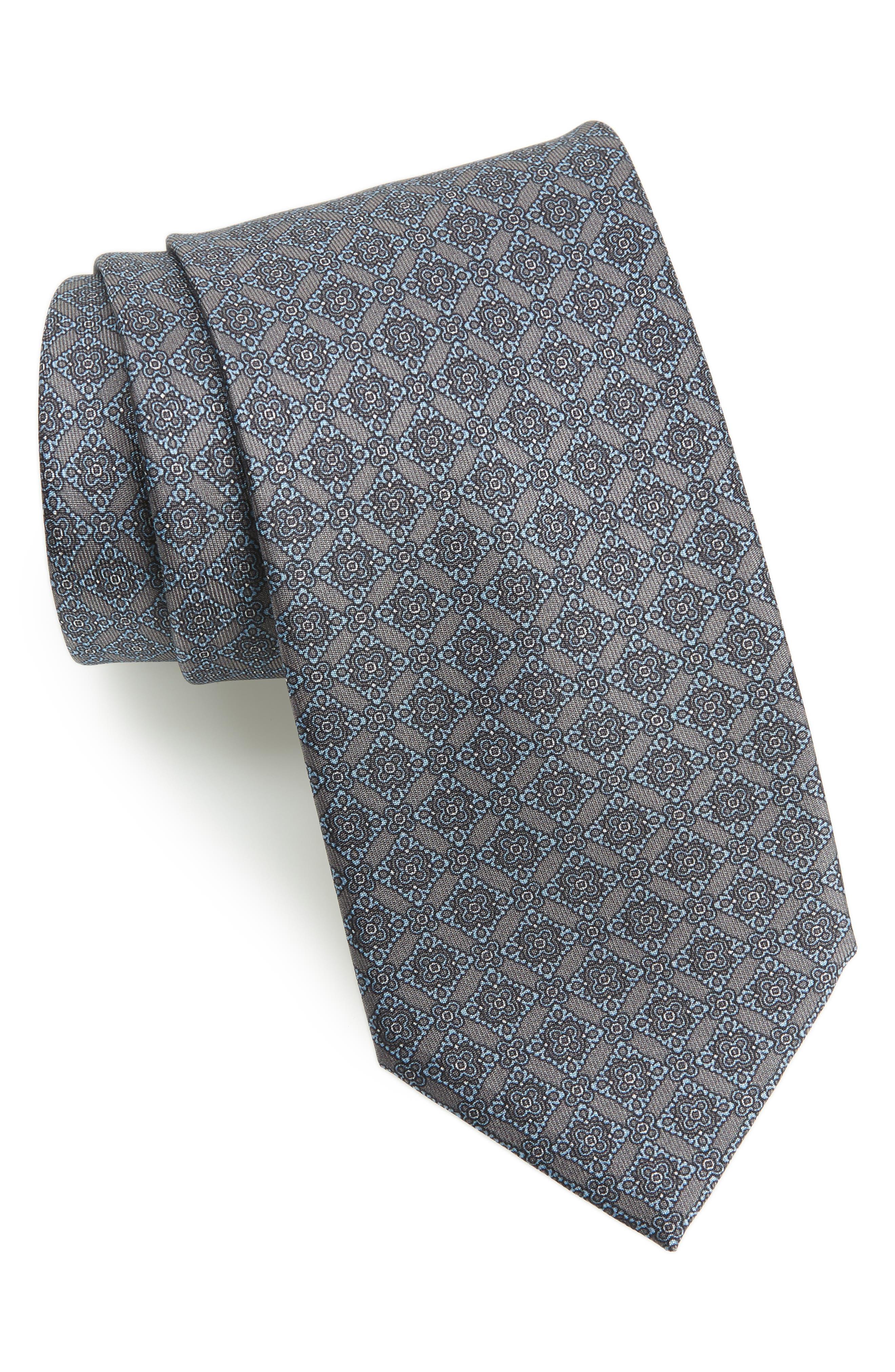 Medallion Geometric Silk Tie,                         Main,                         color, GREY/ TURQUOISE