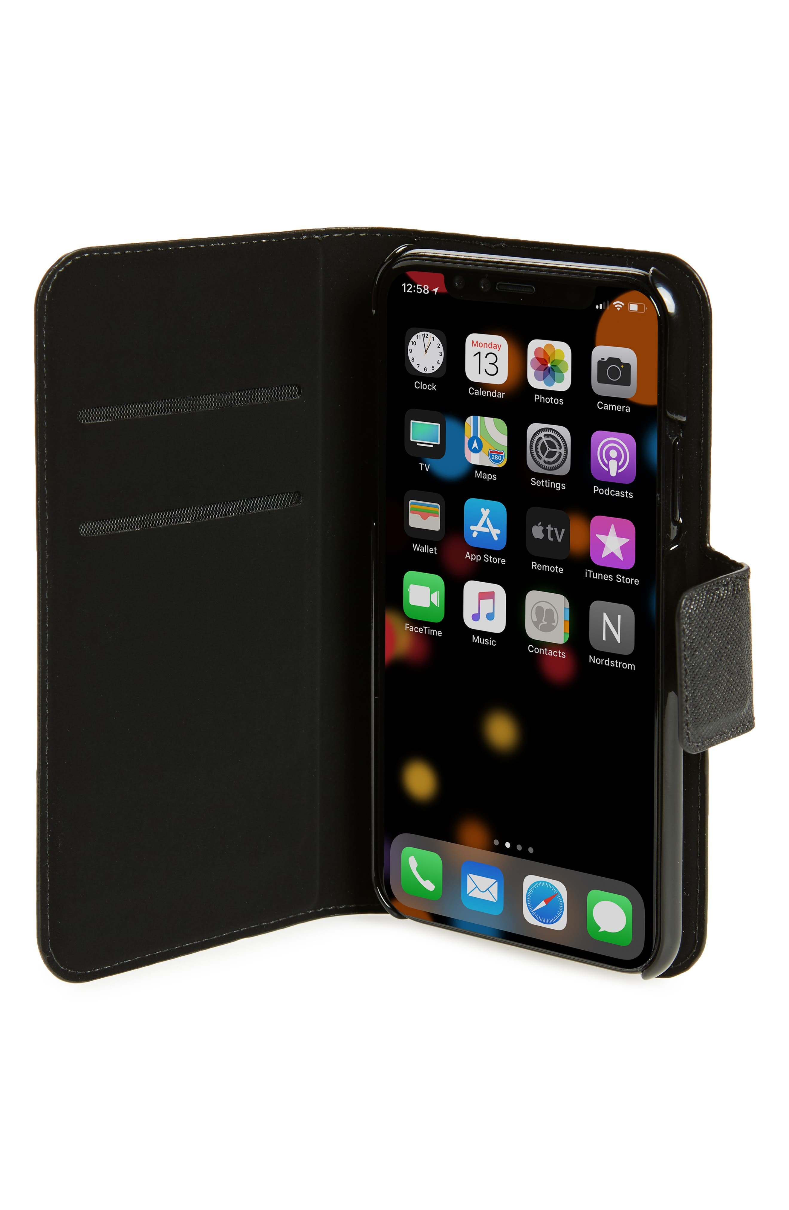 leather wrap iPhone X & Xs folio case,                             Alternate thumbnail 2, color,                             BLACK/ TUSK