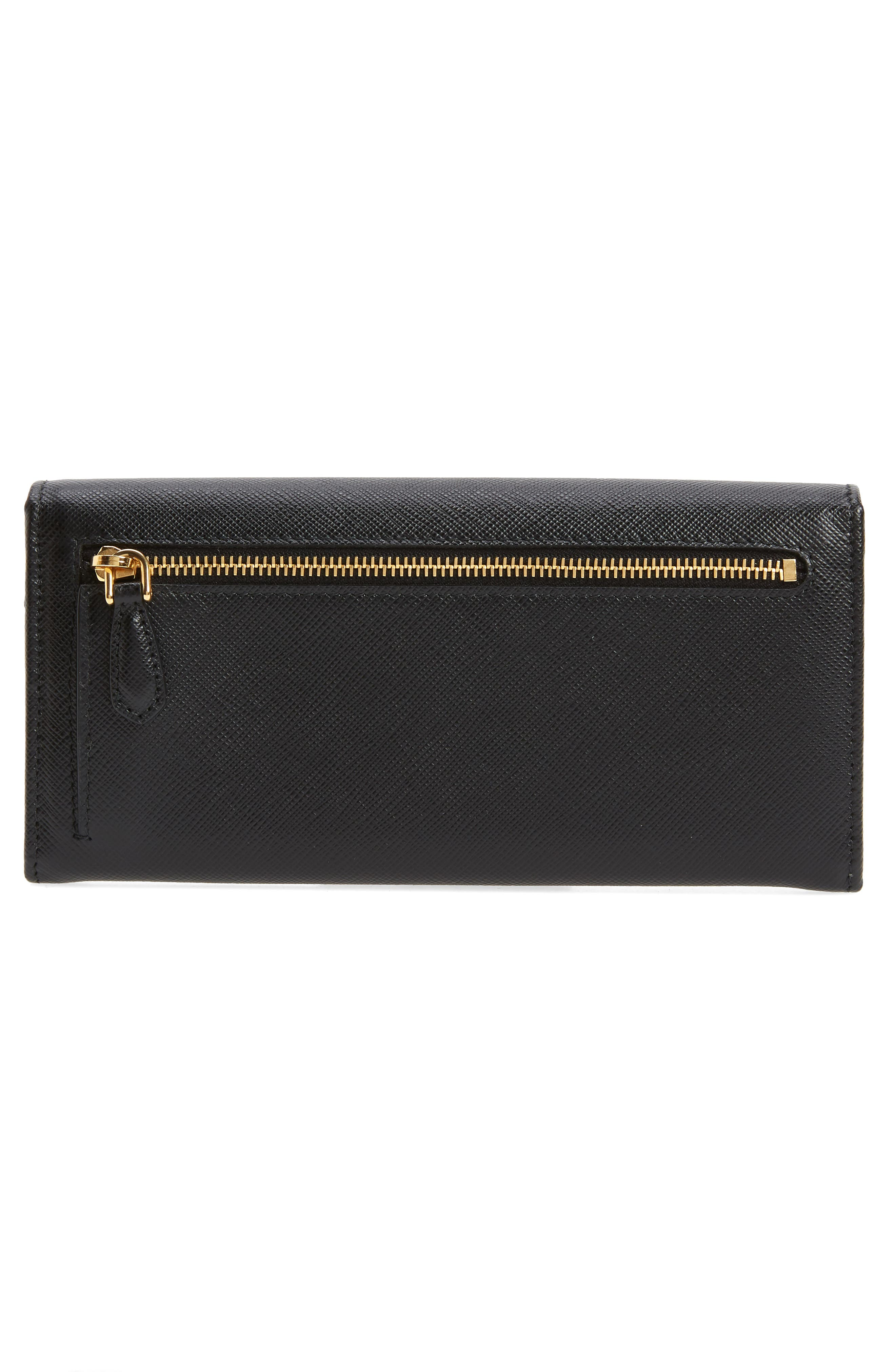Metal Bar Saffiano Leather Continental Wallet,                             Alternate thumbnail 3, color,                             001
