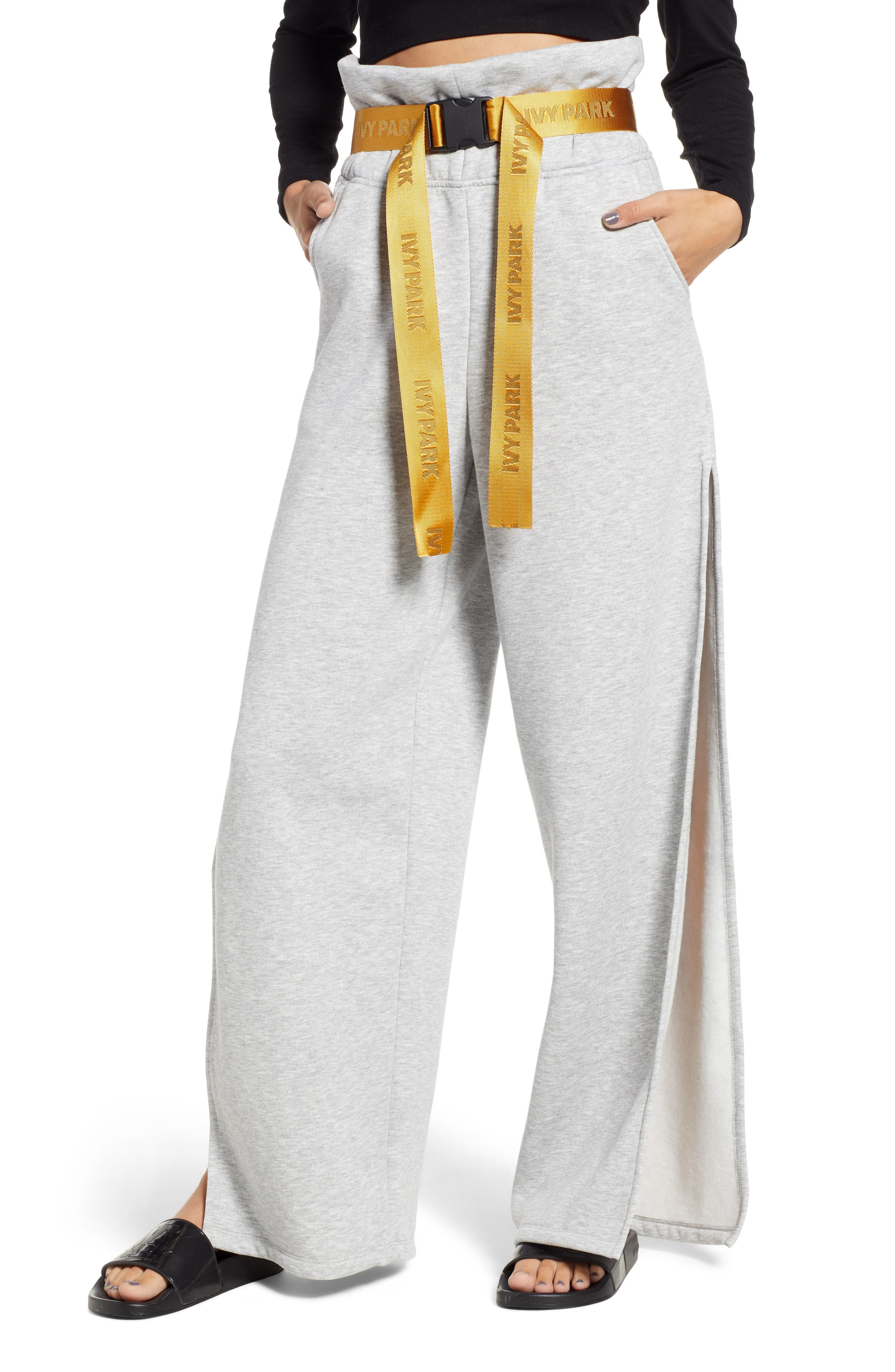 IVY PARK<SUP>®</SUP> Paperbag Waist Split Leg Joggers, Main, color, LIGHT GREY MARL