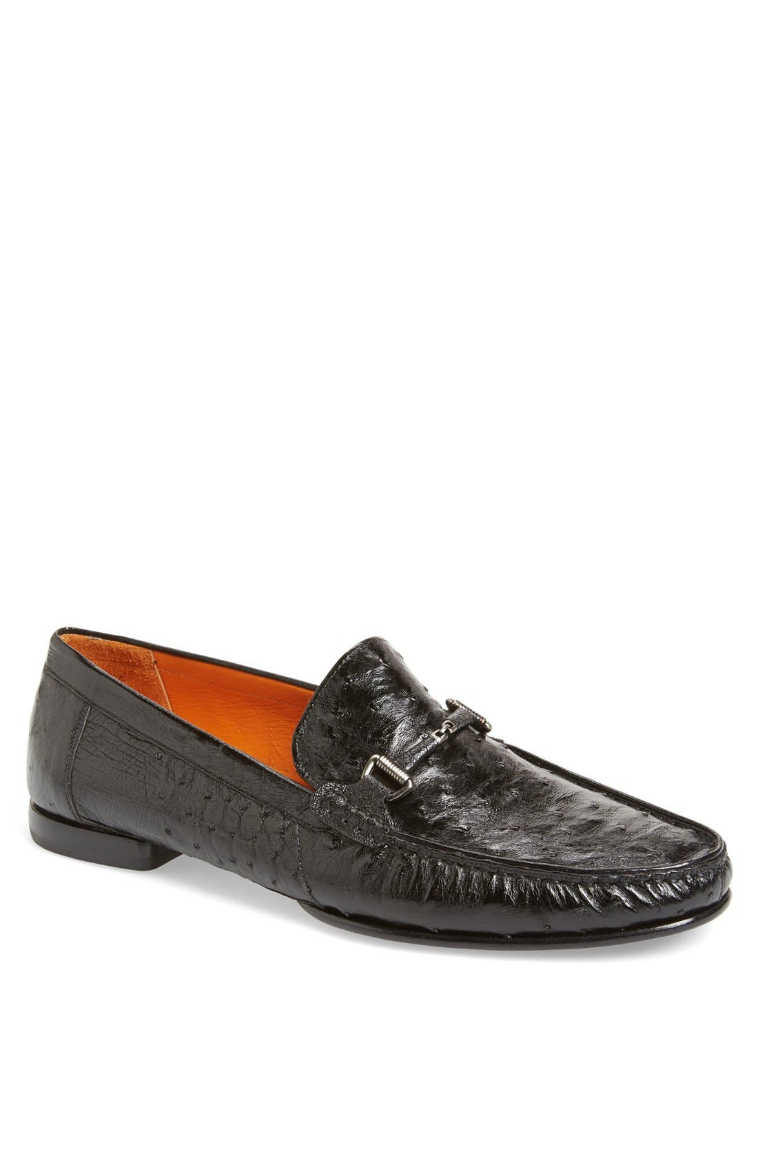 'Vittorio' Ostrich Leather Bit Loafer,                             Main thumbnail 1, color,                             BLACK