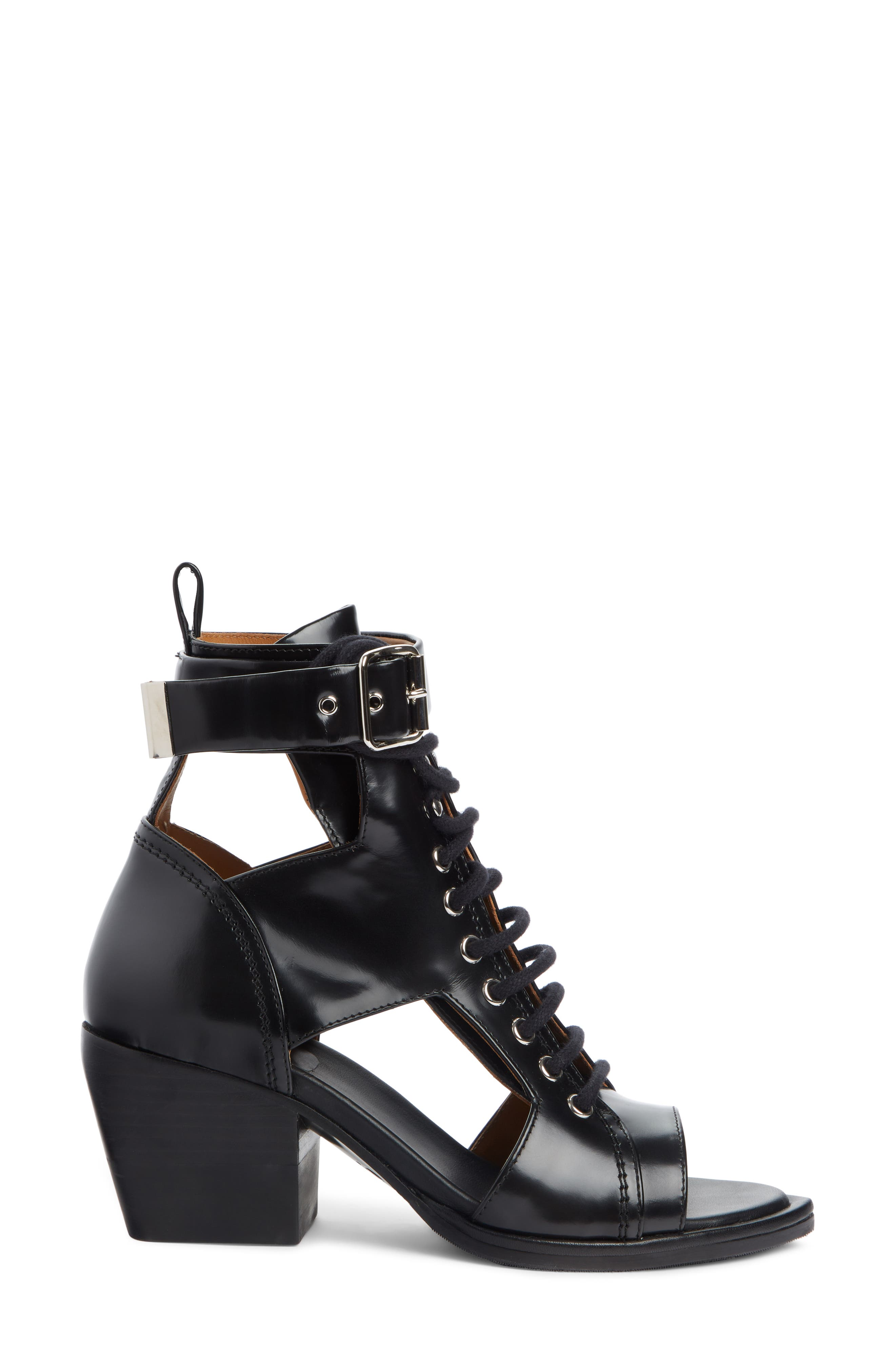 CHLOÉ,                             Rylee Cutout Open Toe Boot,                             Alternate thumbnail 3, color,                             BLACK LEATHER