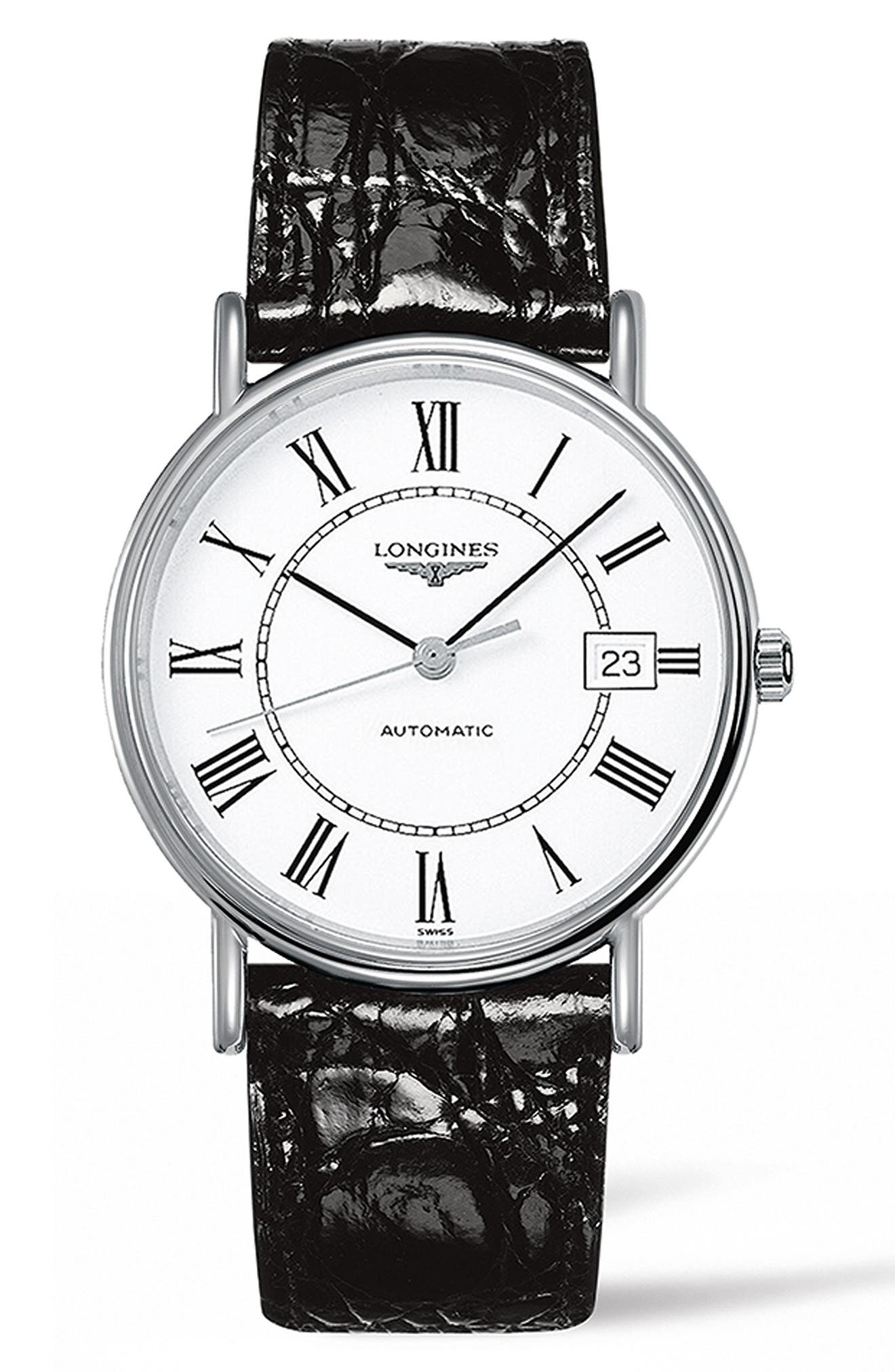 Présence Automatic Leather Strap Watch, 38.5mm, Main, color, BROWN/ WHITE/ SILVER