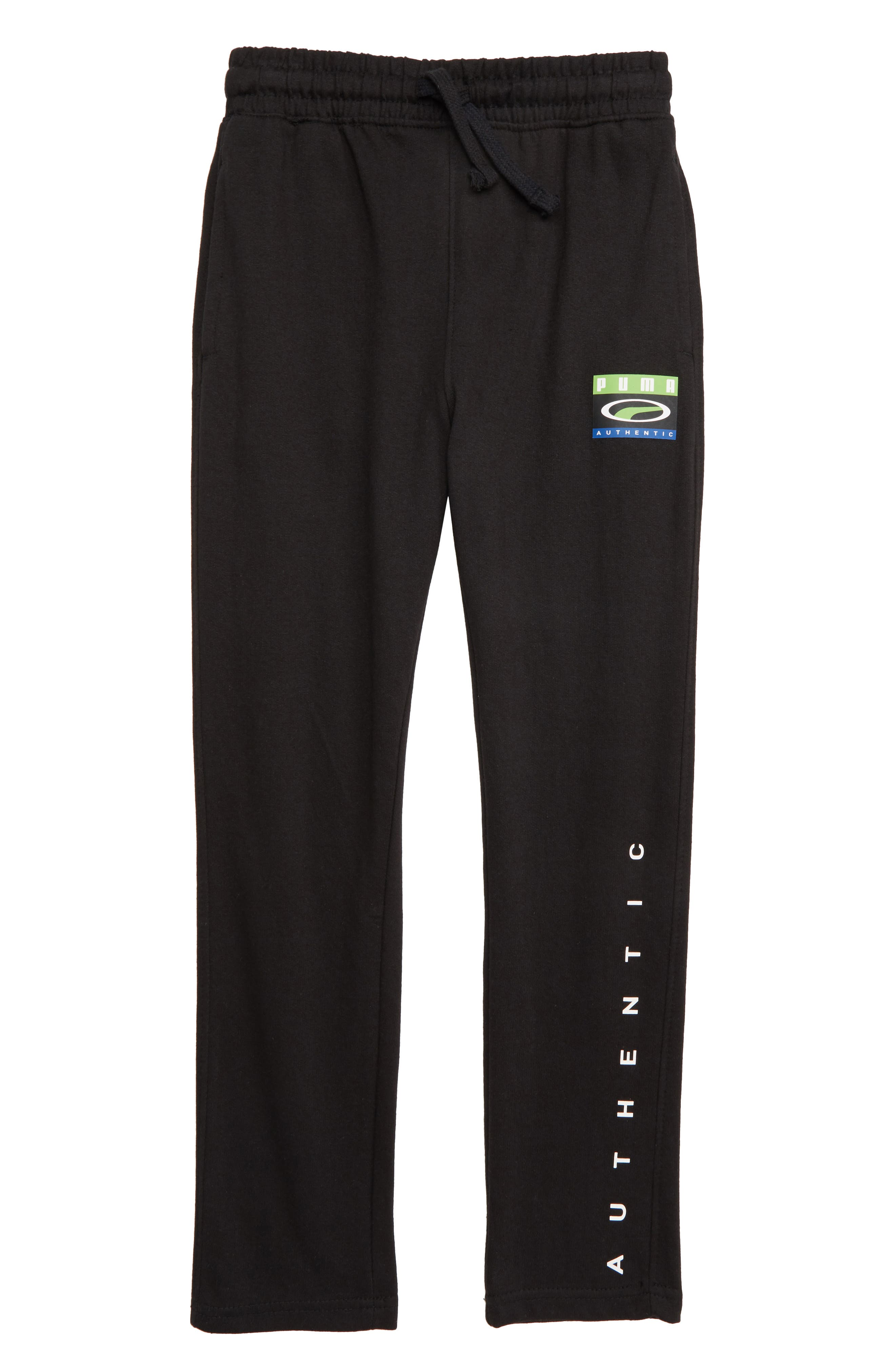 PUMA,                             Cotton Fleece Tapered Pants,                             Main thumbnail 1, color,                             PUMA BLACK