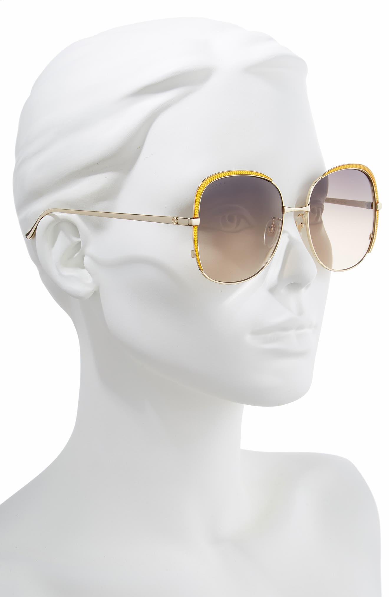 58mm Gradient Sunglasses,                             Alternate thumbnail 2, color,                             GOLD/ PINK/ GREY GRADIENT