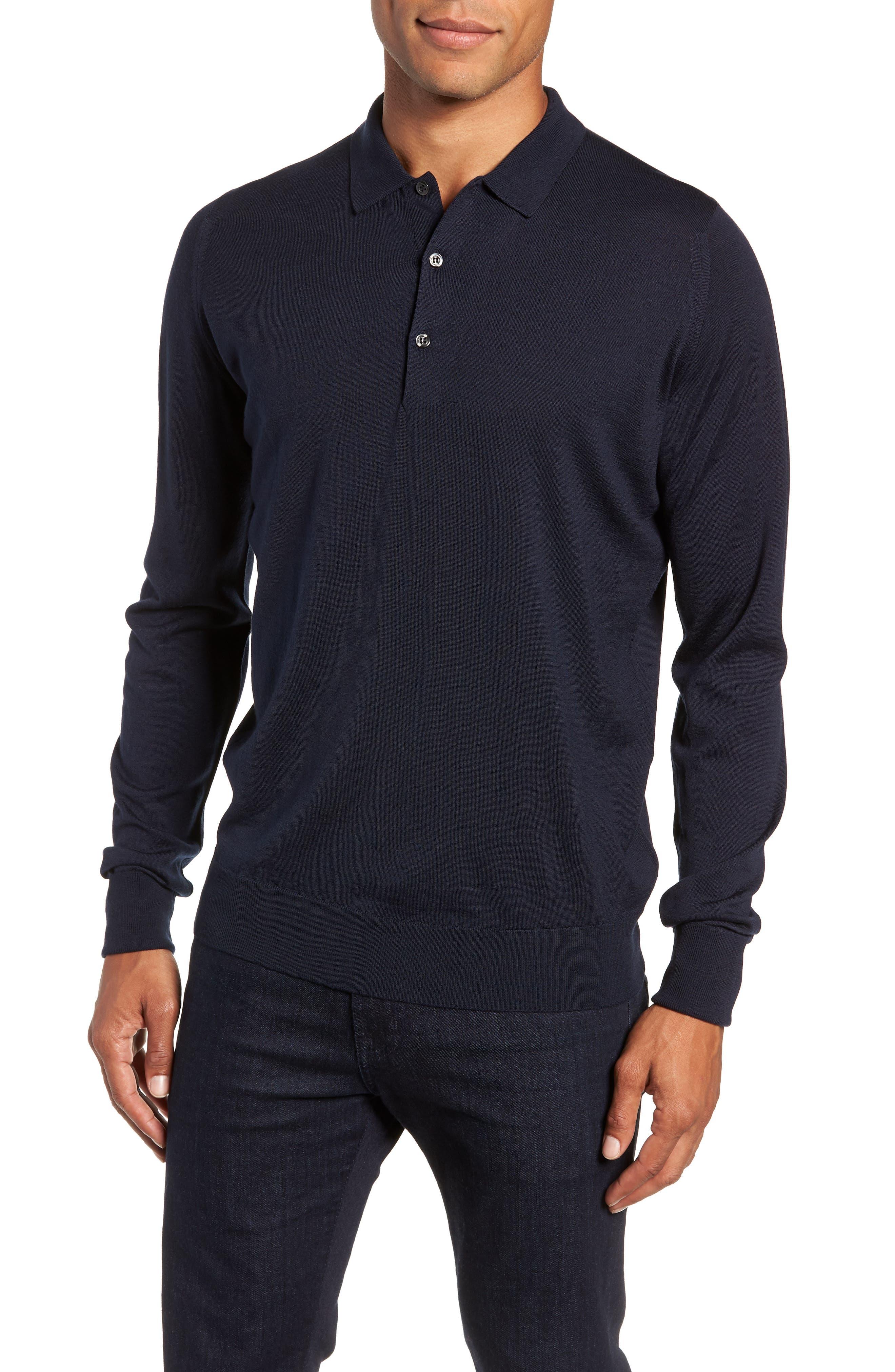 John Smedley Slim Fit Long Sleeve Merino Polo, Blue