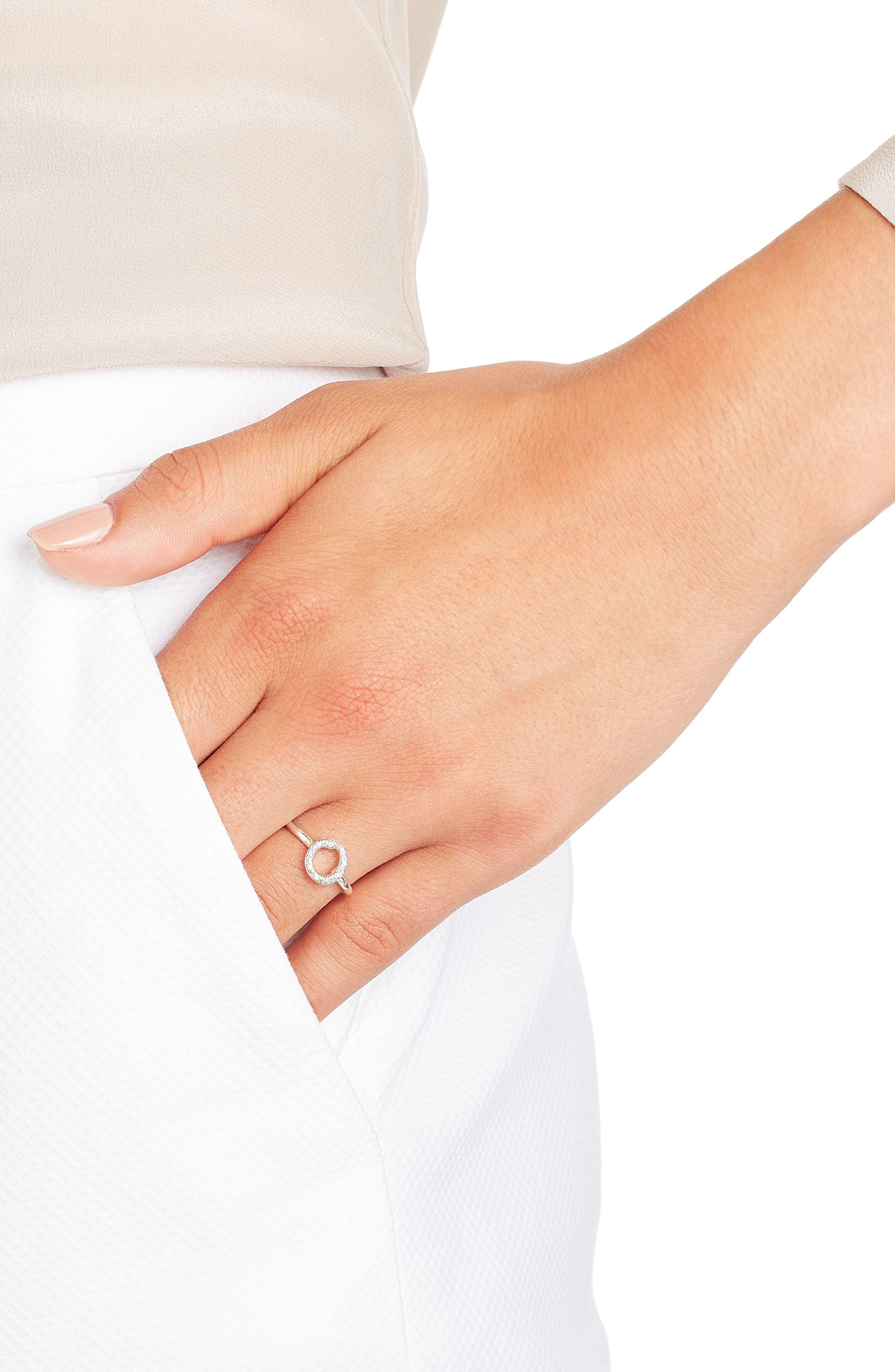 Riva Diamond Mini Circle Ring,                             Alternate thumbnail 4, color,                             SILVER/ DIAMOND