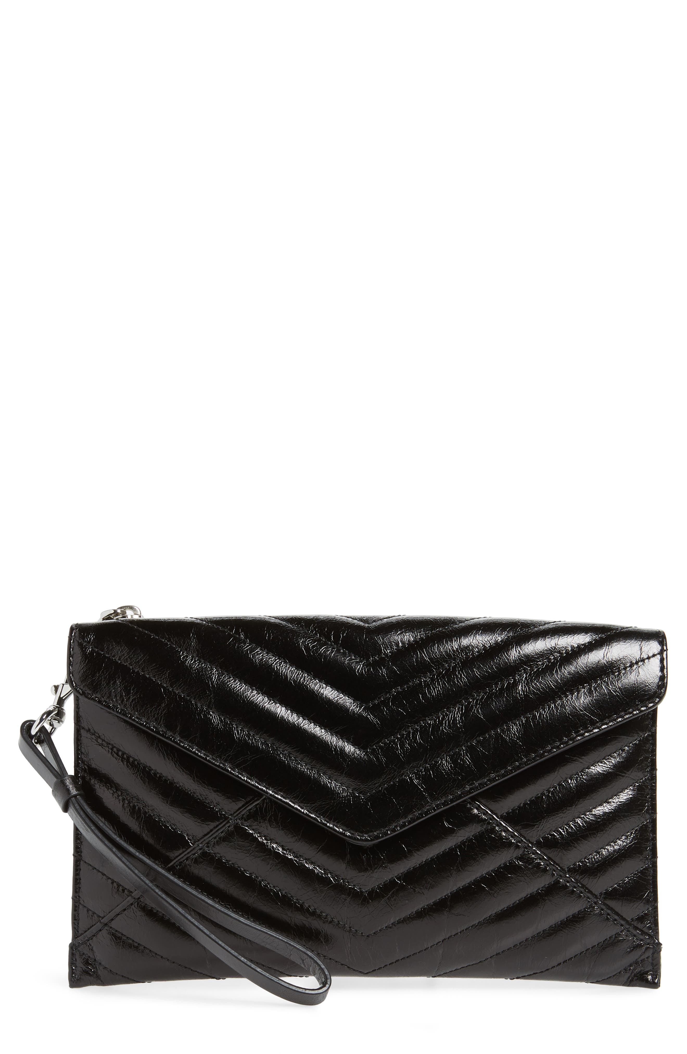 Leo Quilted Leather Envelope Wristlet Pouch Bag in Black