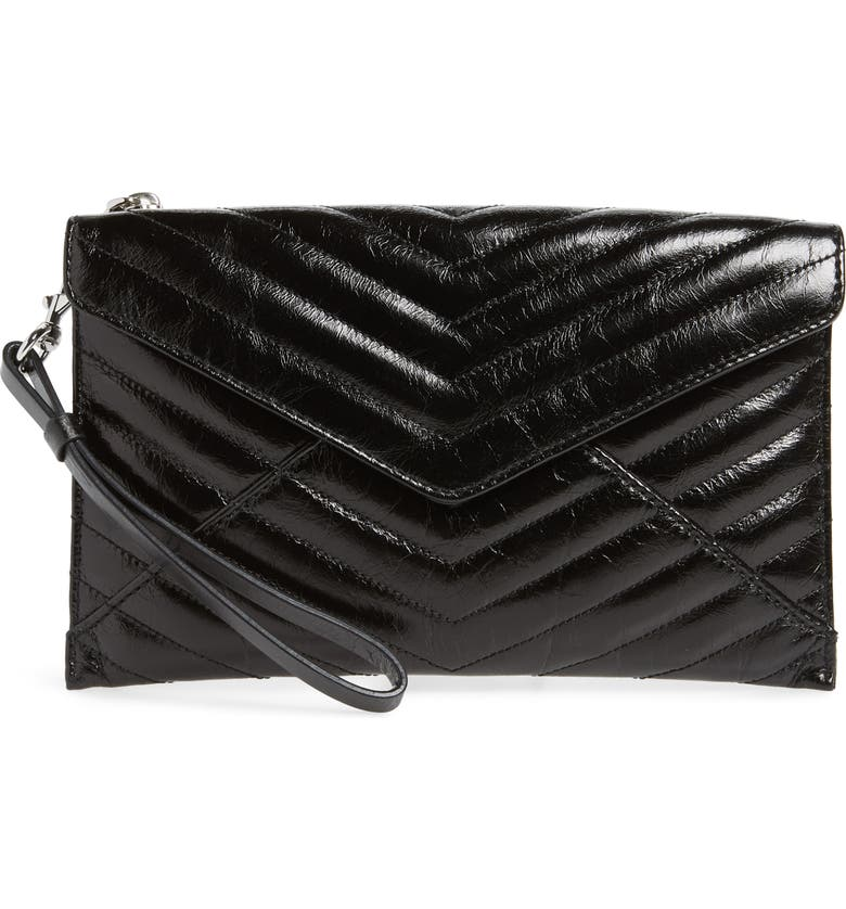 Rebecca Minkoff Pouches LEO QUILTED LEATHER CLUTCH - BLACK