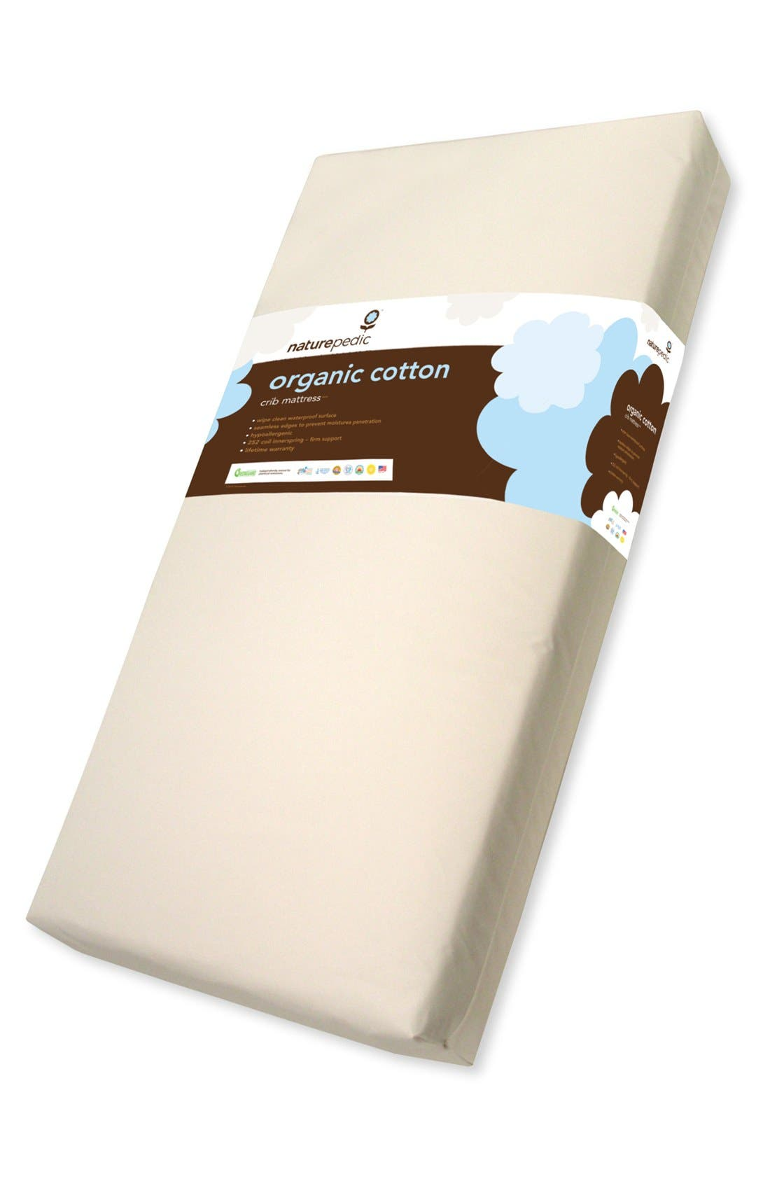 Lightweight Organic Cotton Ultra 2-Stage Crib Mattress,                         Main,                         color, 100