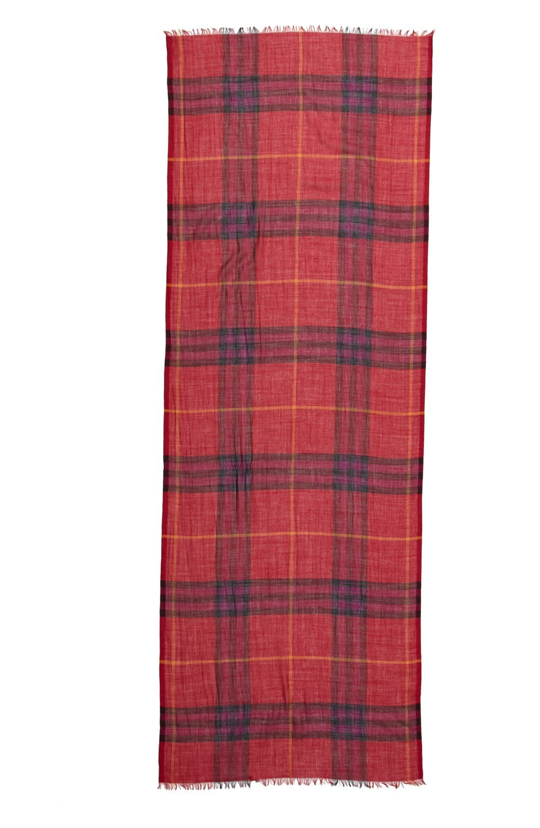 Giant Check Print Wool & Silk Scarf,                             Alternate thumbnail 112, color,