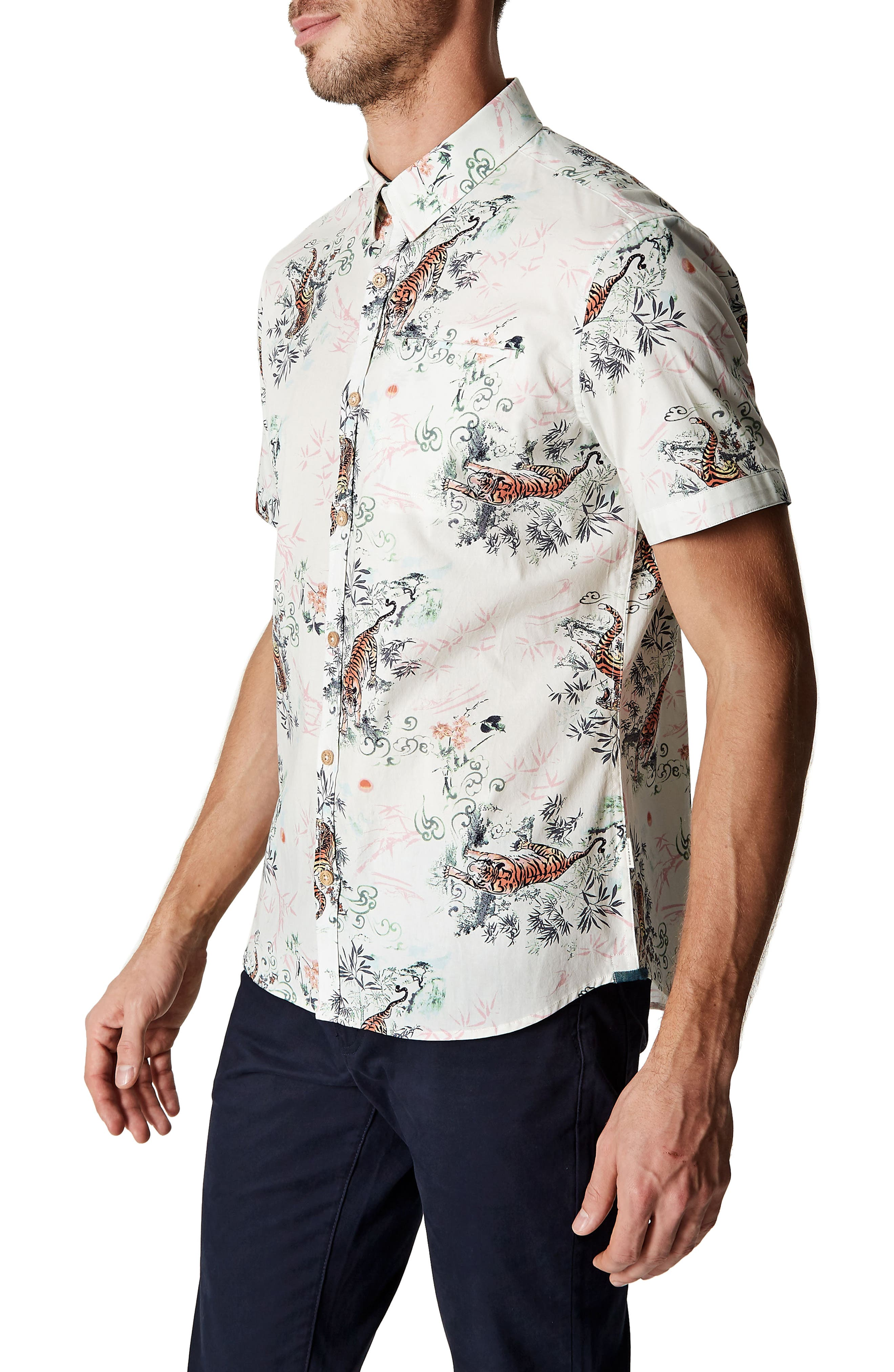Wild Thoughts Tiger Print Woven Shirt,                             Alternate thumbnail 3, color,