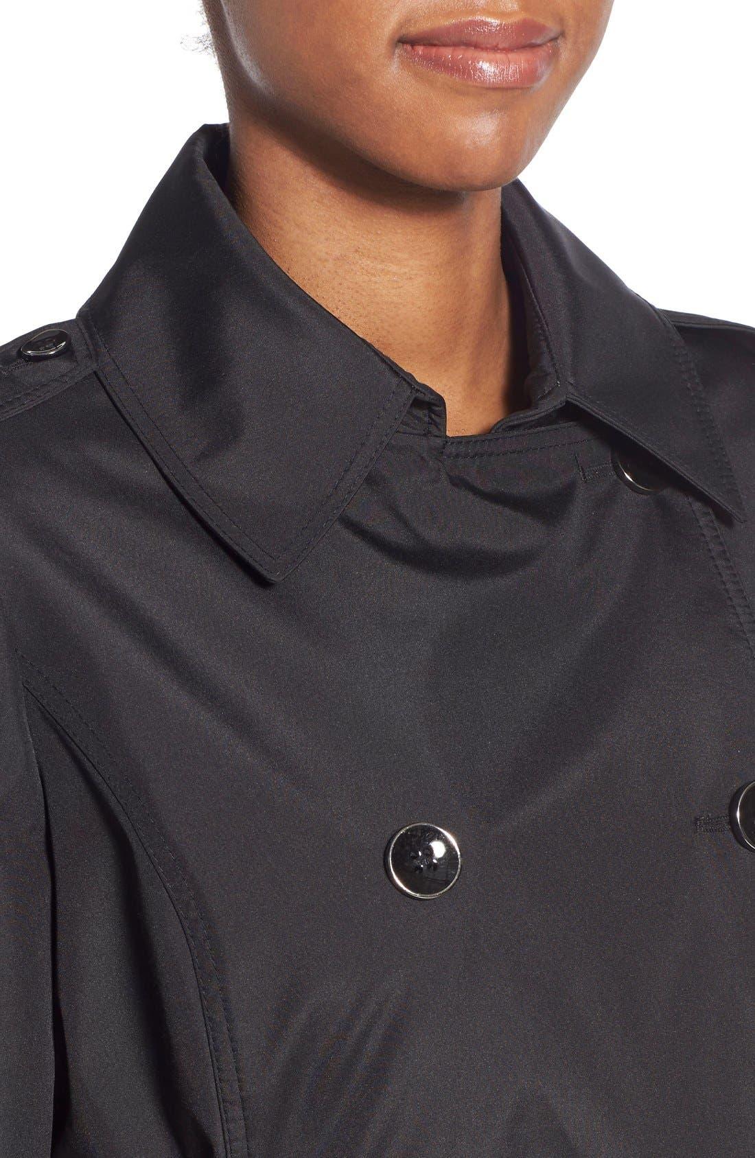 Faux Leather Trim Trench Coat,                             Alternate thumbnail 4, color,                             001