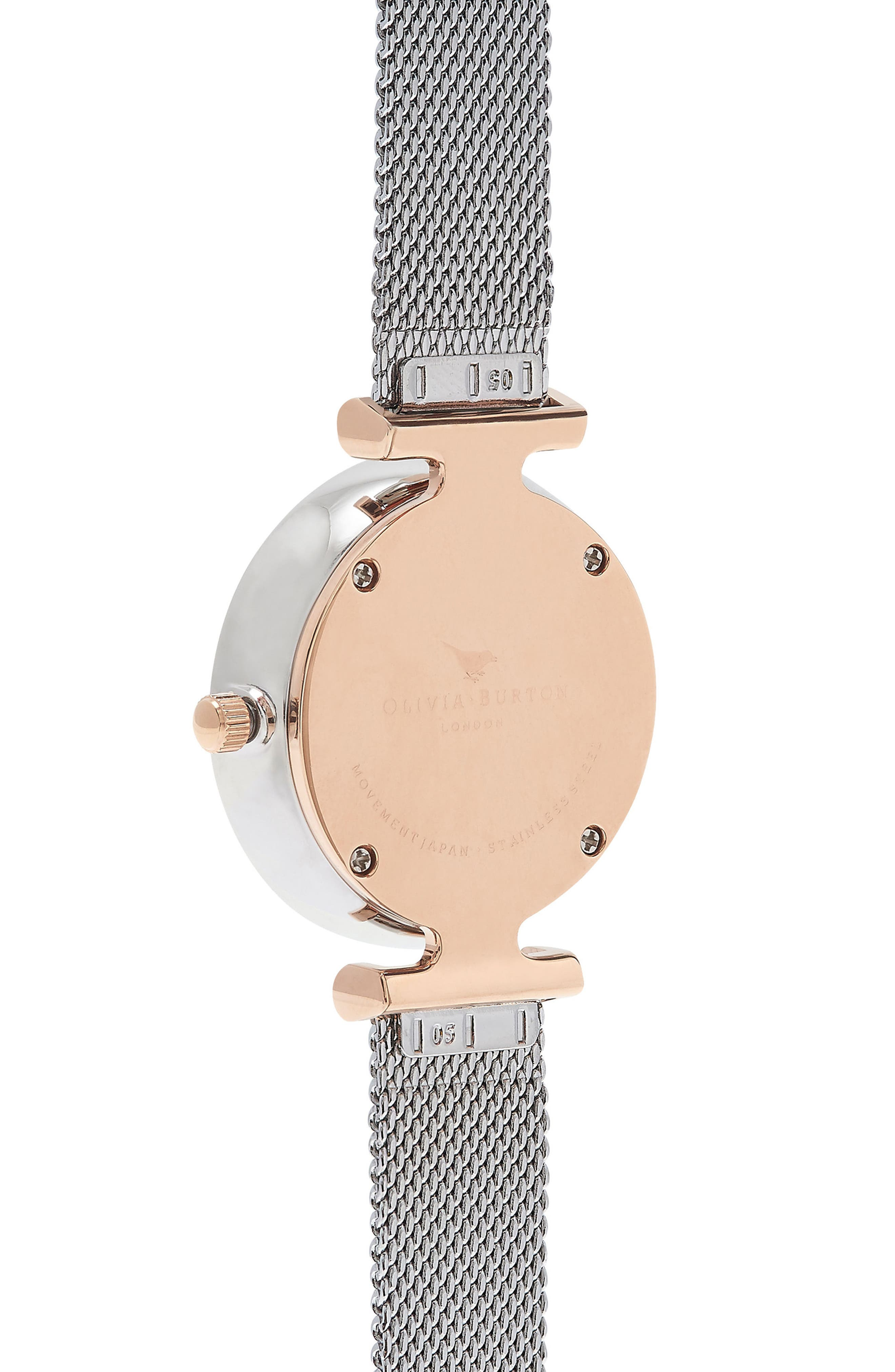 Queen Bee Mesh Strap Watch, 30mm,                             Alternate thumbnail 3, color,                             SILVER/ WHITE/ SILVER