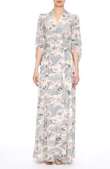 Floral Print Silk Crêpe de Chine Maxi Wrap Dress, video thumbnail