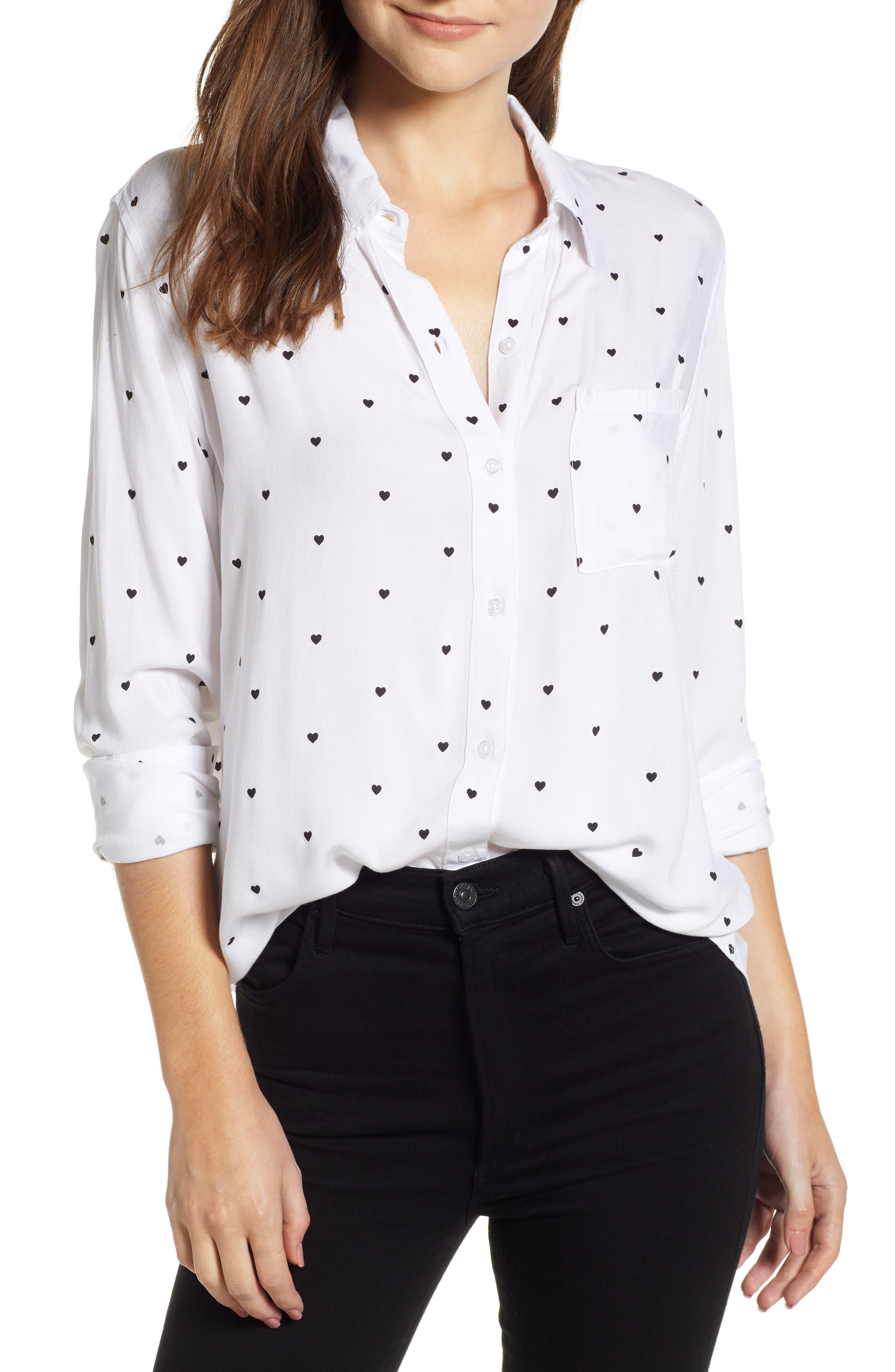 Rocsi Heart Print Shirt,                         Main,                         color, 100