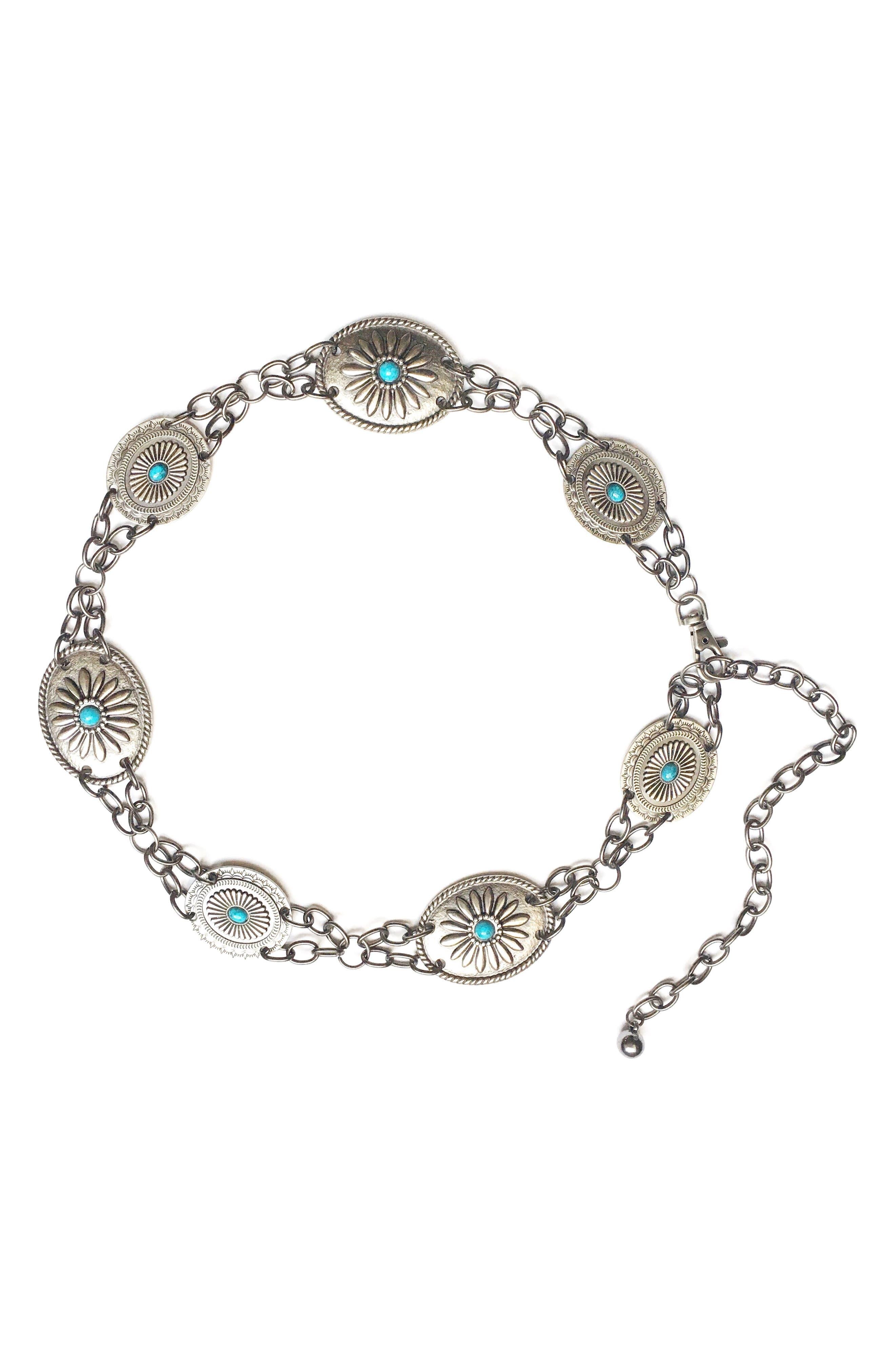 Camilla Genuine Turquoise Chain Belt,                             Main thumbnail 1, color,